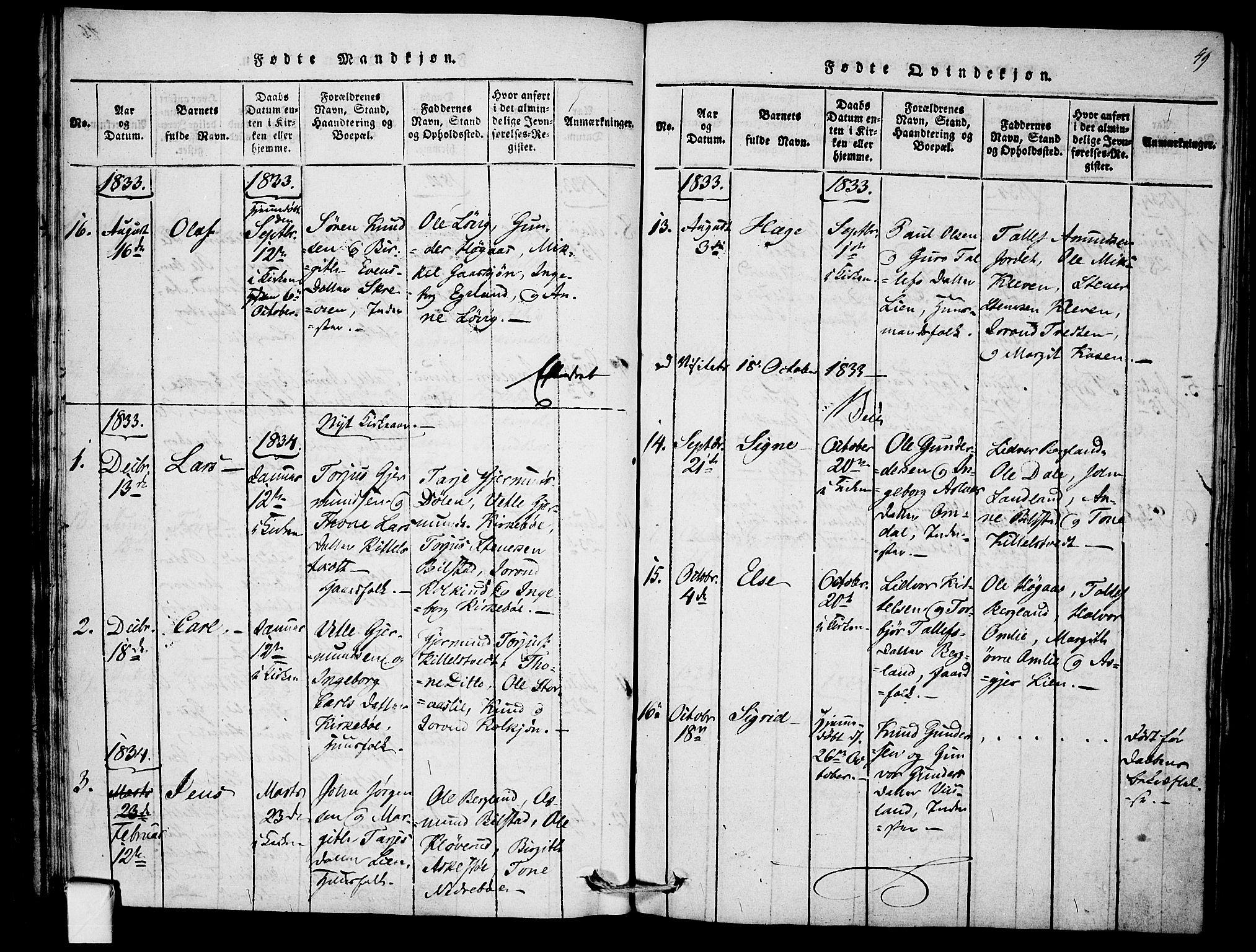 SAKO, Mo kirkebøker, F/Fb/L0001: Ministerialbok nr. II 1, 1814-1844, s. 49
