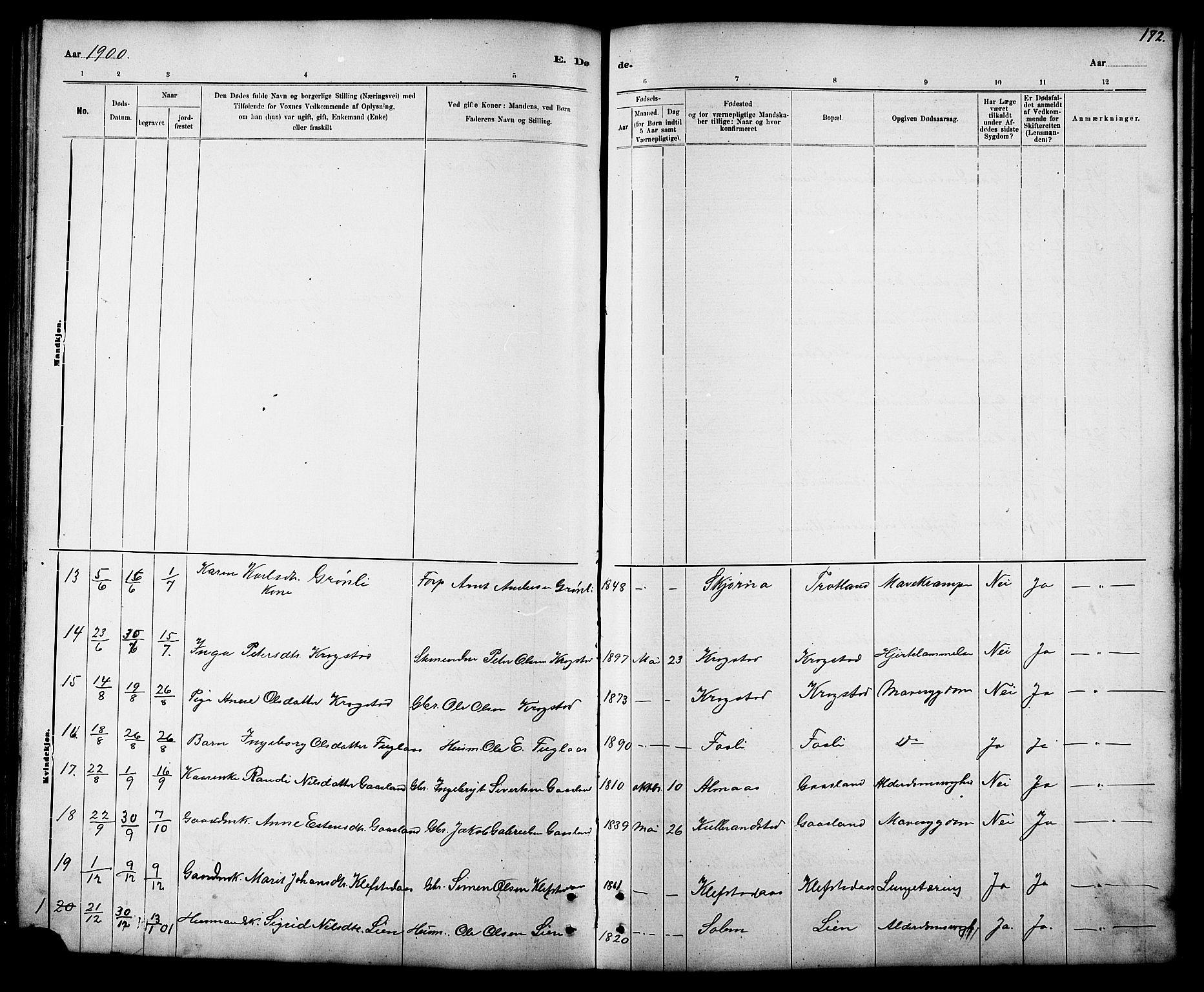 SAT, Ministerialprotokoller, klokkerbøker og fødselsregistre - Sør-Trøndelag, 694/L1132: Klokkerbok nr. 694C04, 1887-1914, s. 172