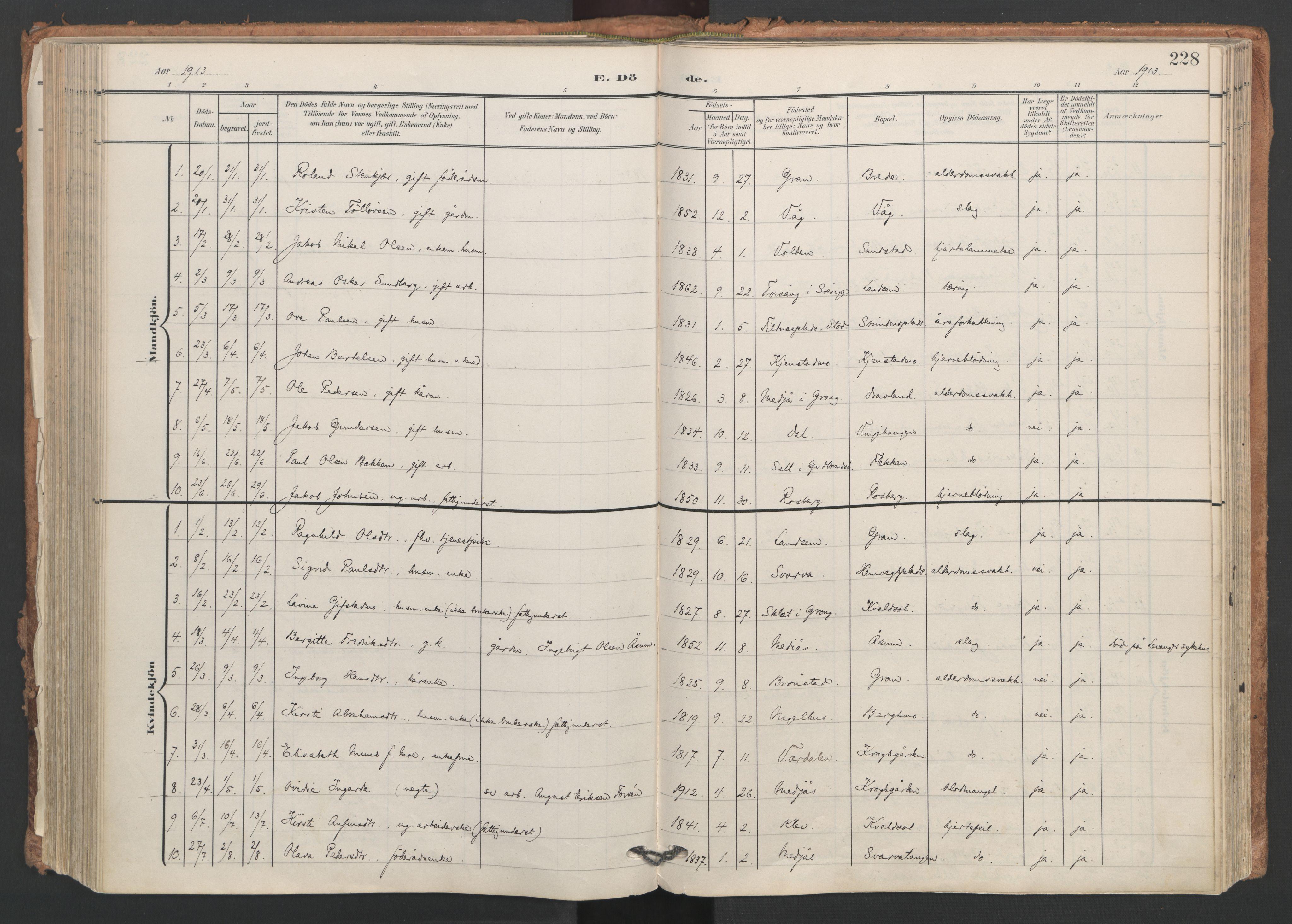 SAT, Ministerialprotokoller, klokkerbøker og fødselsregistre - Nord-Trøndelag, 749/L0477: Ministerialbok nr. 749A11, 1902-1927, s. 228