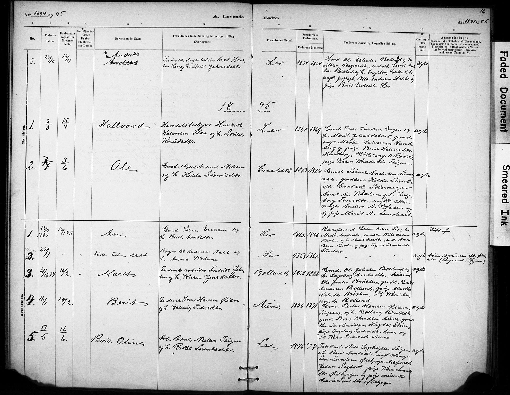 SAT, Ministerialprotokoller, klokkerbøker og fødselsregistre - Sør-Trøndelag, 693/L1119: Ministerialbok nr. 693A01, 1887-1905, s. 16