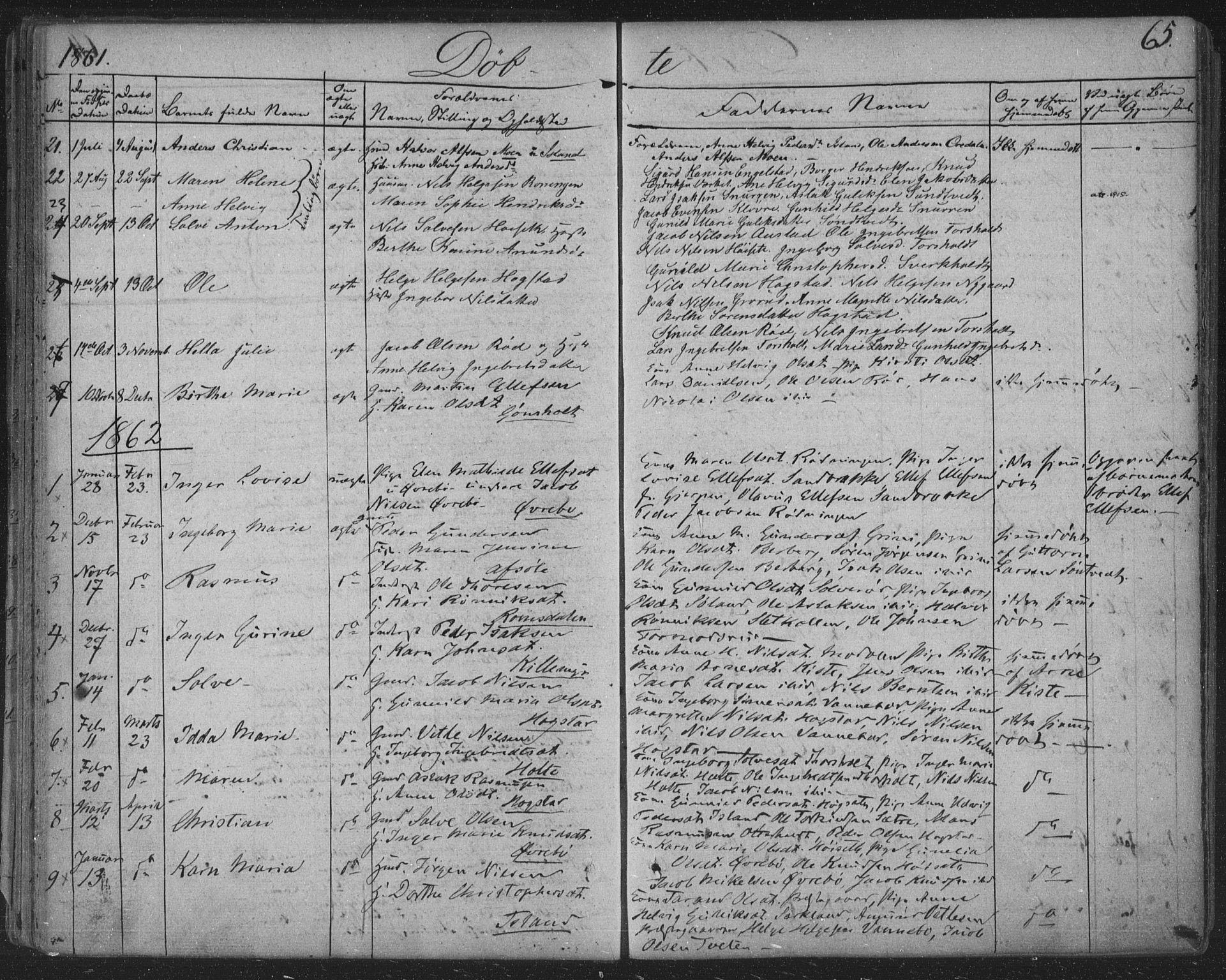 SAKO, Siljan kirkebøker, F/Fa/L0001: Ministerialbok nr. 1, 1831-1870, s. 65