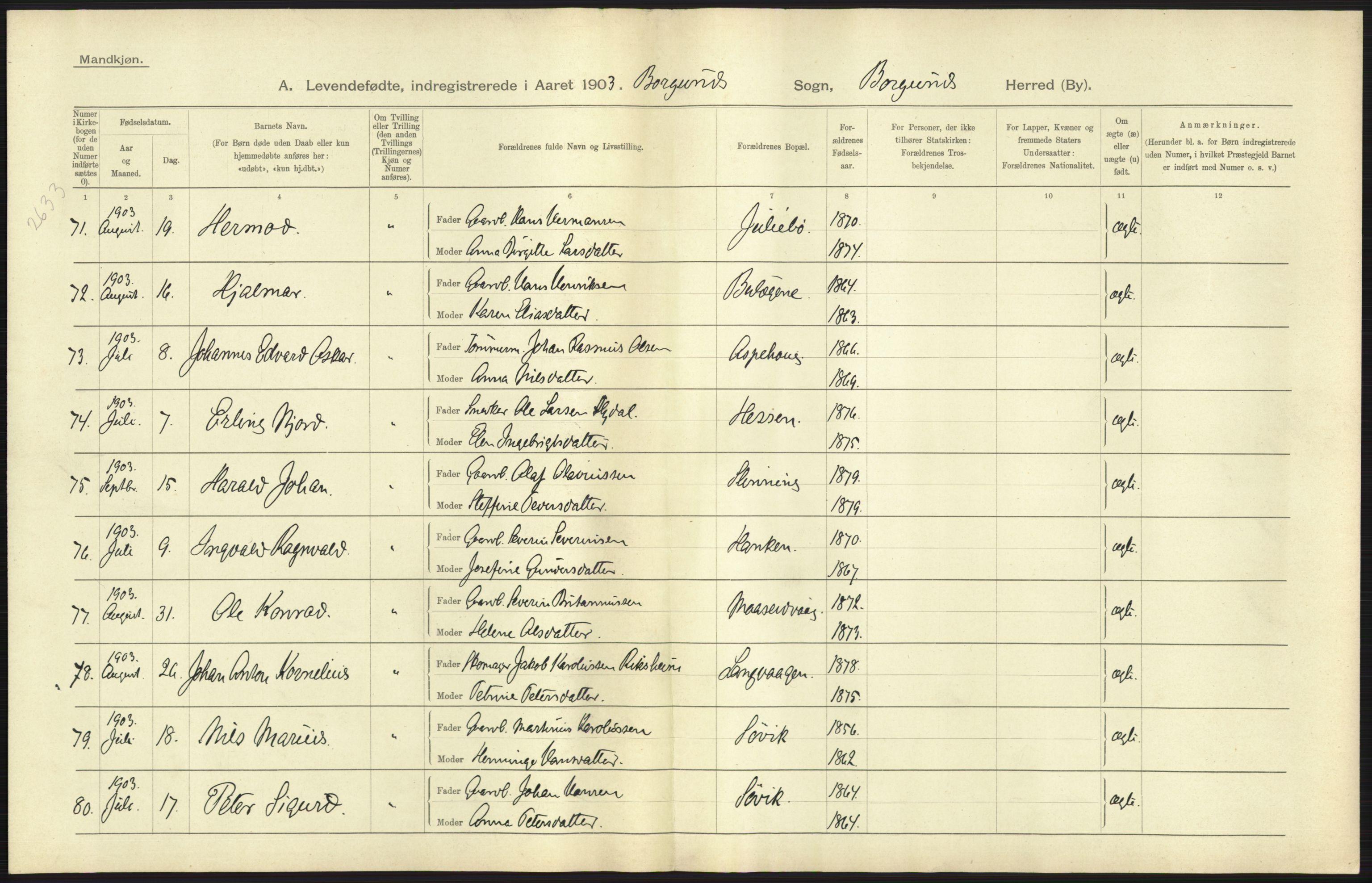 RA, Statistisk sentralbyrå, Sosiodemografiske emner, Befolkning, D/Df/Dfa/Dfaa/L0016: Romsdal amt: Fødte, gifte, døde., 1903, s. 3
