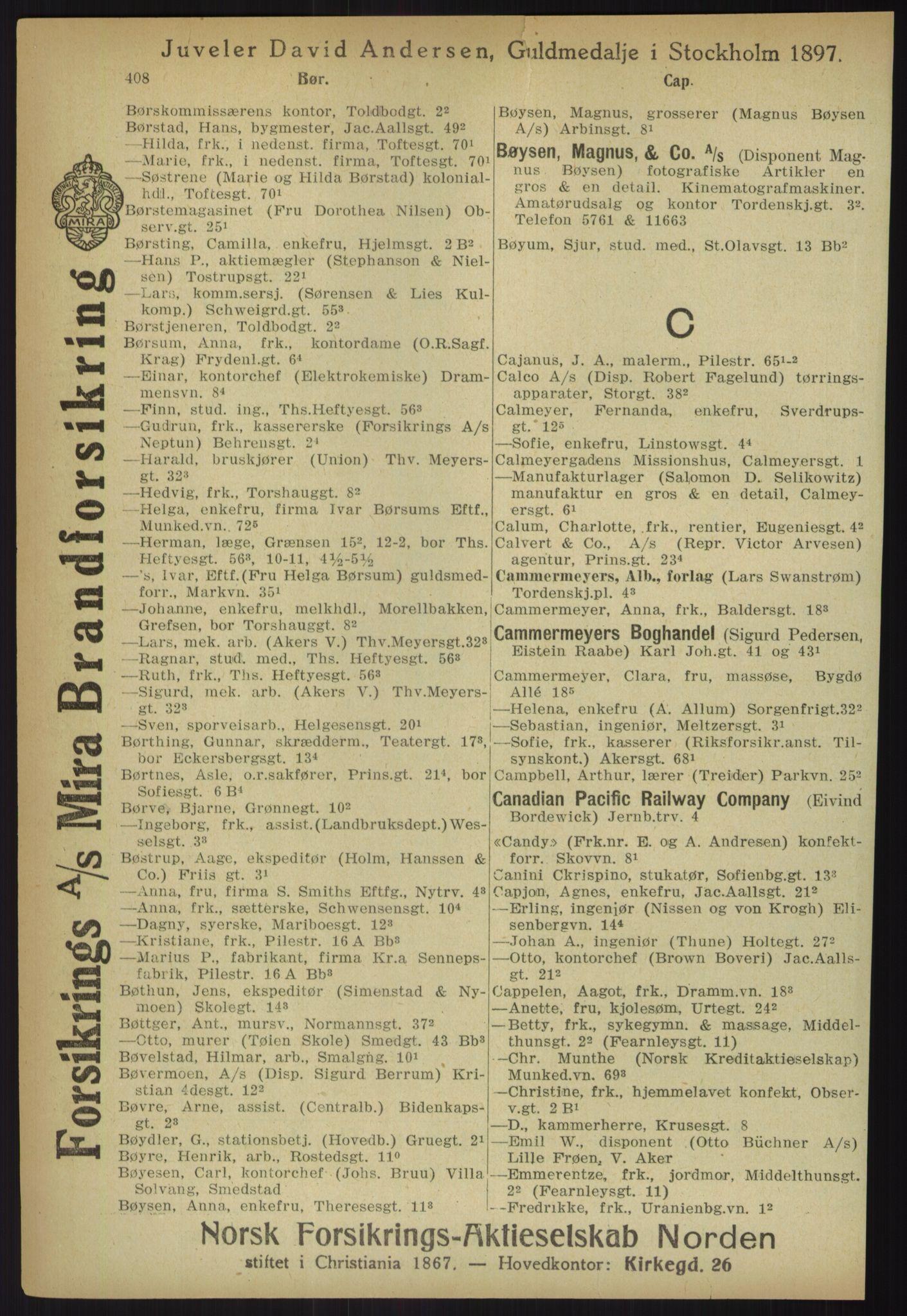 RA, Kristiania adressebok (publikasjon)*, 1918, s. 408