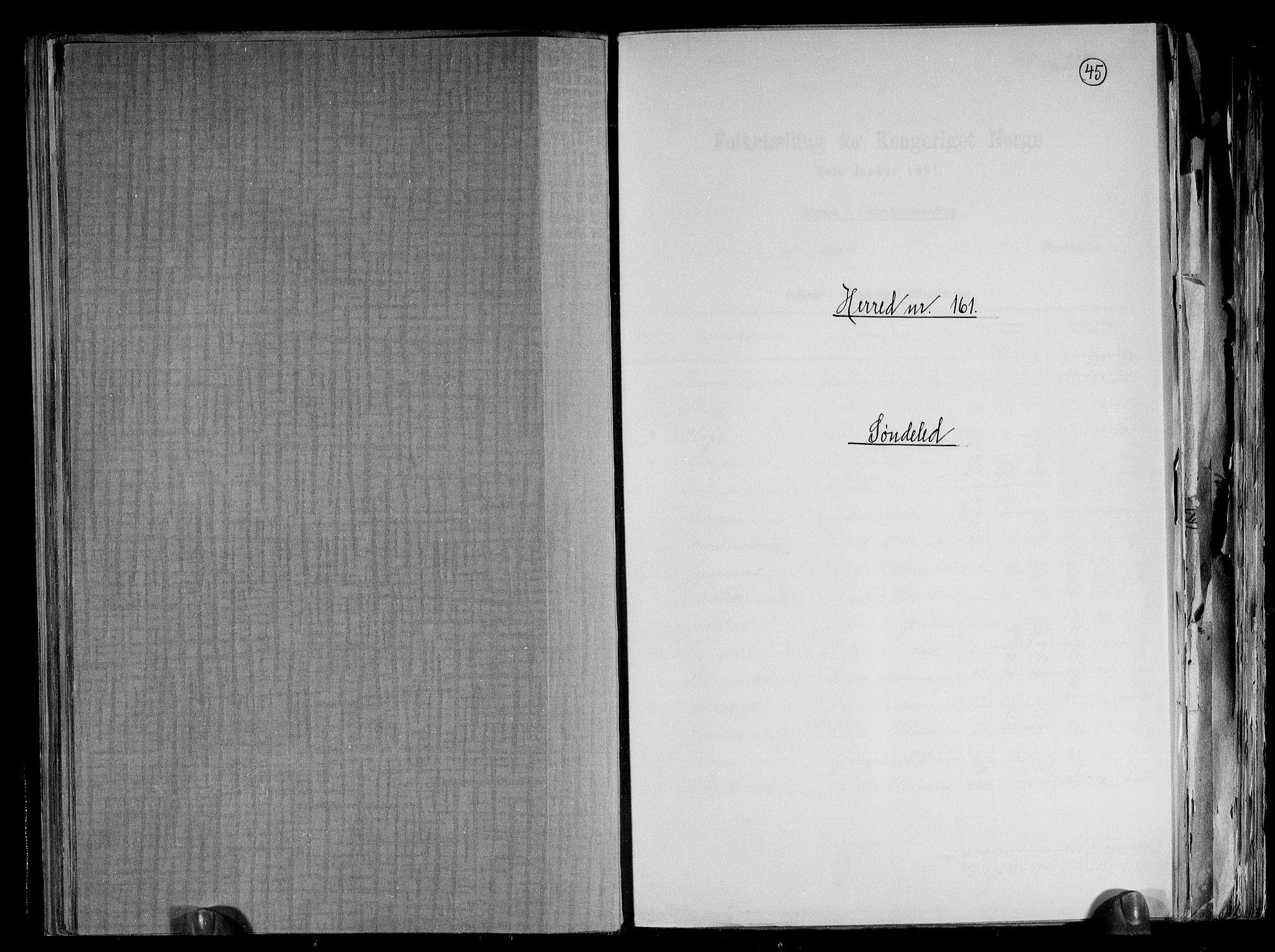RA, Folketelling 1891 for 0913 Søndeled herred, 1891, s. 1