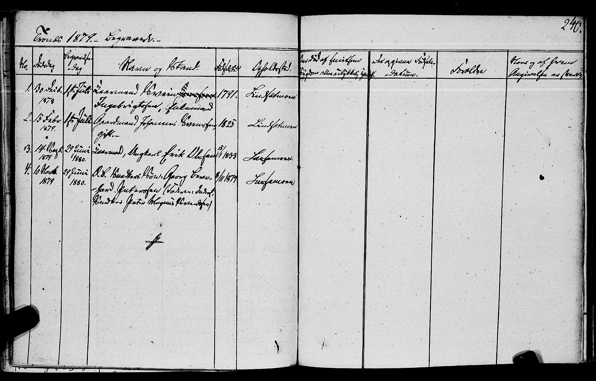 SAT, Ministerialprotokoller, klokkerbøker og fødselsregistre - Nord-Trøndelag, 762/L0538: Ministerialbok nr. 762A02 /2, 1833-1879, s. 240