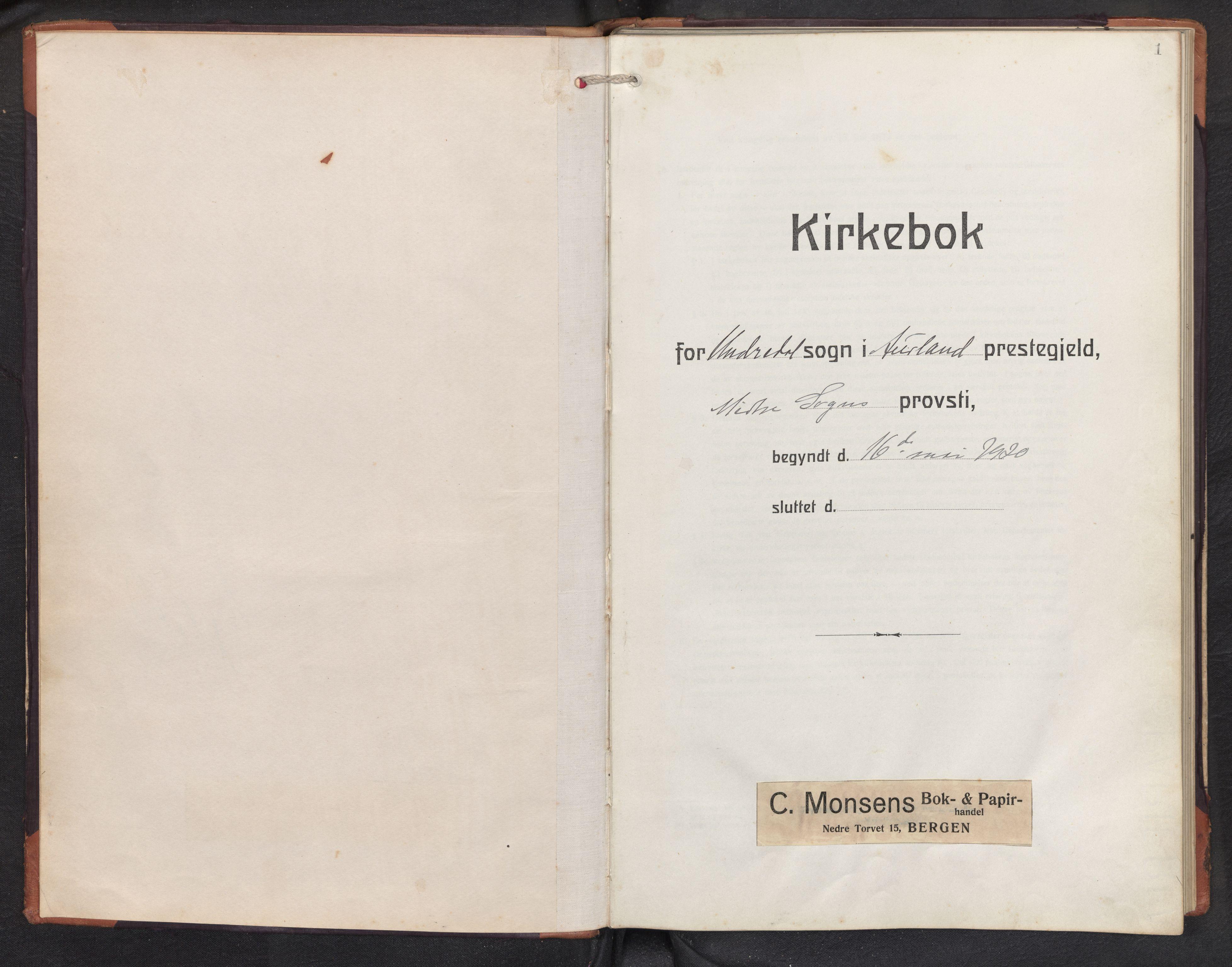 SAB, Aurland sokneprestembete, H/Hb/Hbd/L0003: Klokkerbok nr. D 3, 1920-1968, s. 0b-1a