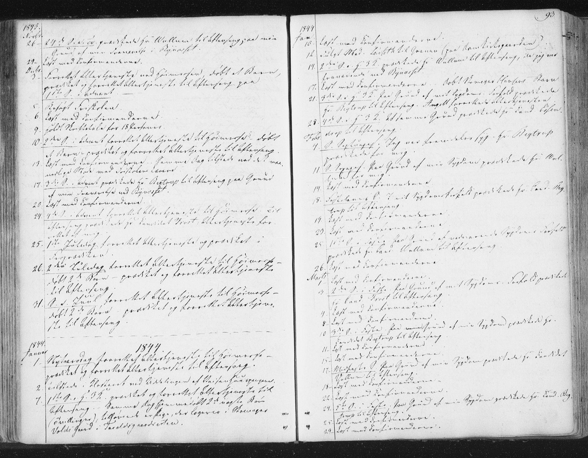SAT, Ministerialprotokoller, klokkerbøker og fødselsregistre - Sør-Trøndelag, 602/L0127: Residerende kapellans bok nr. 602B01, 1821-1875, s. 93