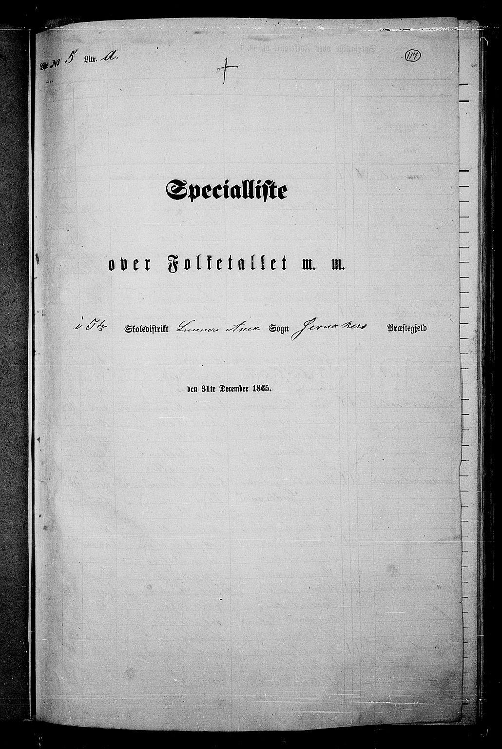 RA, Folketelling 1865 for 0532P Jevnaker prestegjeld, 1865, s. 111
