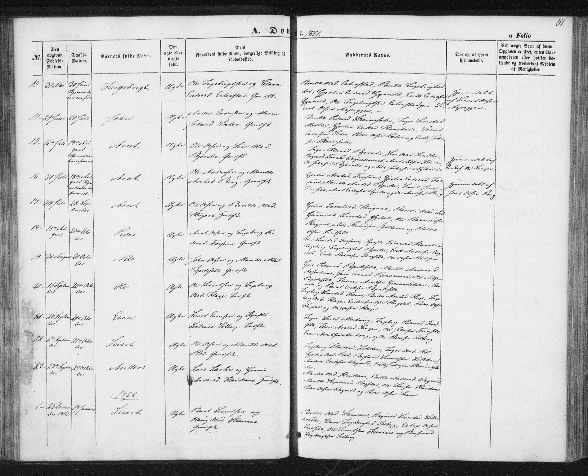 SAT, Ministerialprotokoller, klokkerbøker og fødselsregistre - Sør-Trøndelag, 689/L1038: Ministerialbok nr. 689A03, 1848-1872, s. 51