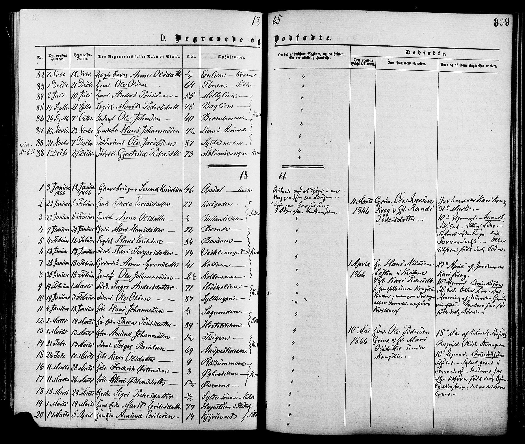 SAH, Nord-Fron prestekontor, Ministerialbok nr. 2, 1865-1883, s. 399