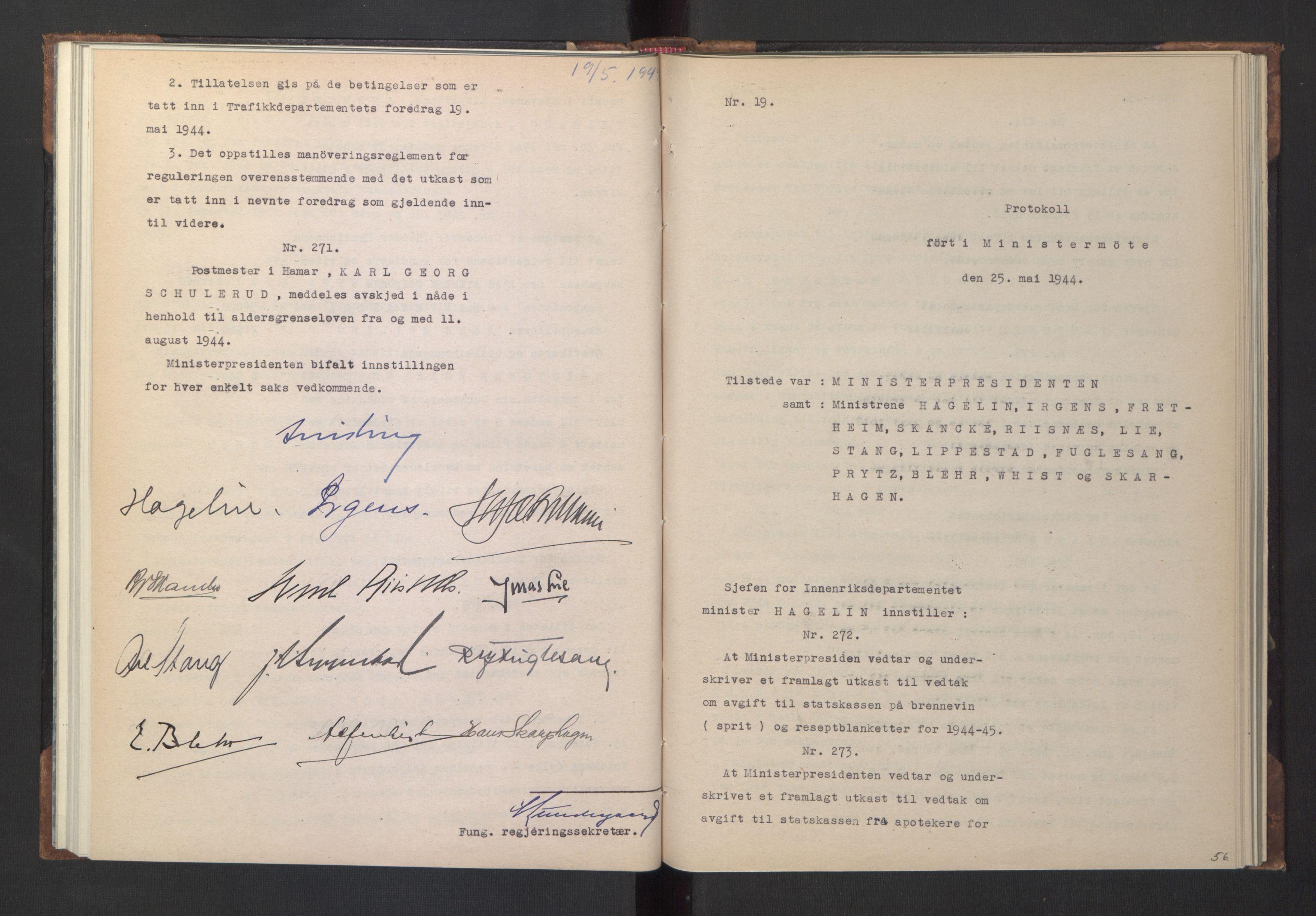 RA, NS-administrasjonen 1940-1945 (Statsrådsekretariatet, de kommisariske statsråder mm), D/Da/L0005: Protokoll fra ministermøter, 1944, s. 55b-56a