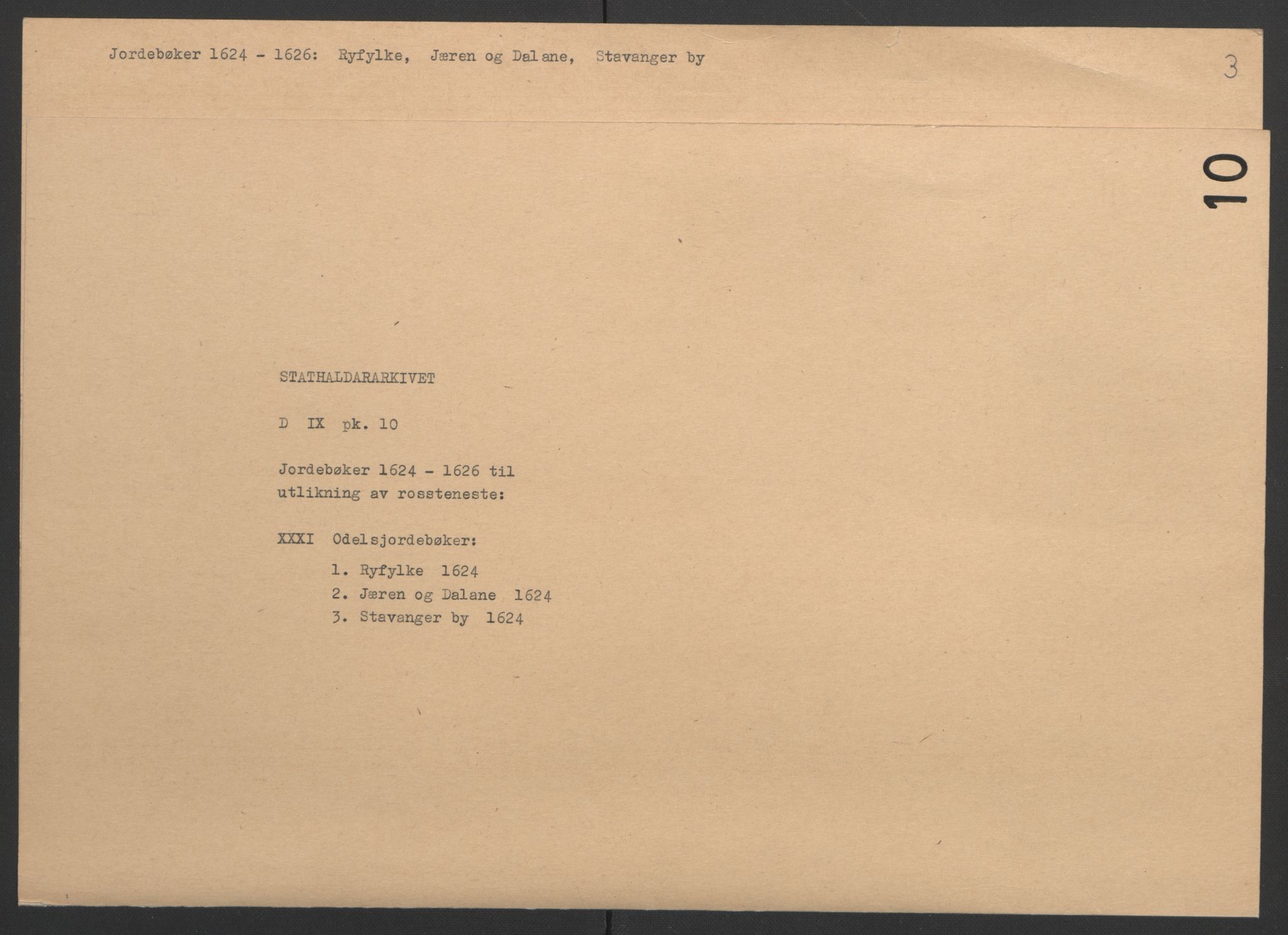 RA, Stattholderembetet 1572-1771, Ek/L0010: Jordebøker til utlikning av rosstjeneste 1624-1626:, 1624-1626, s. 2