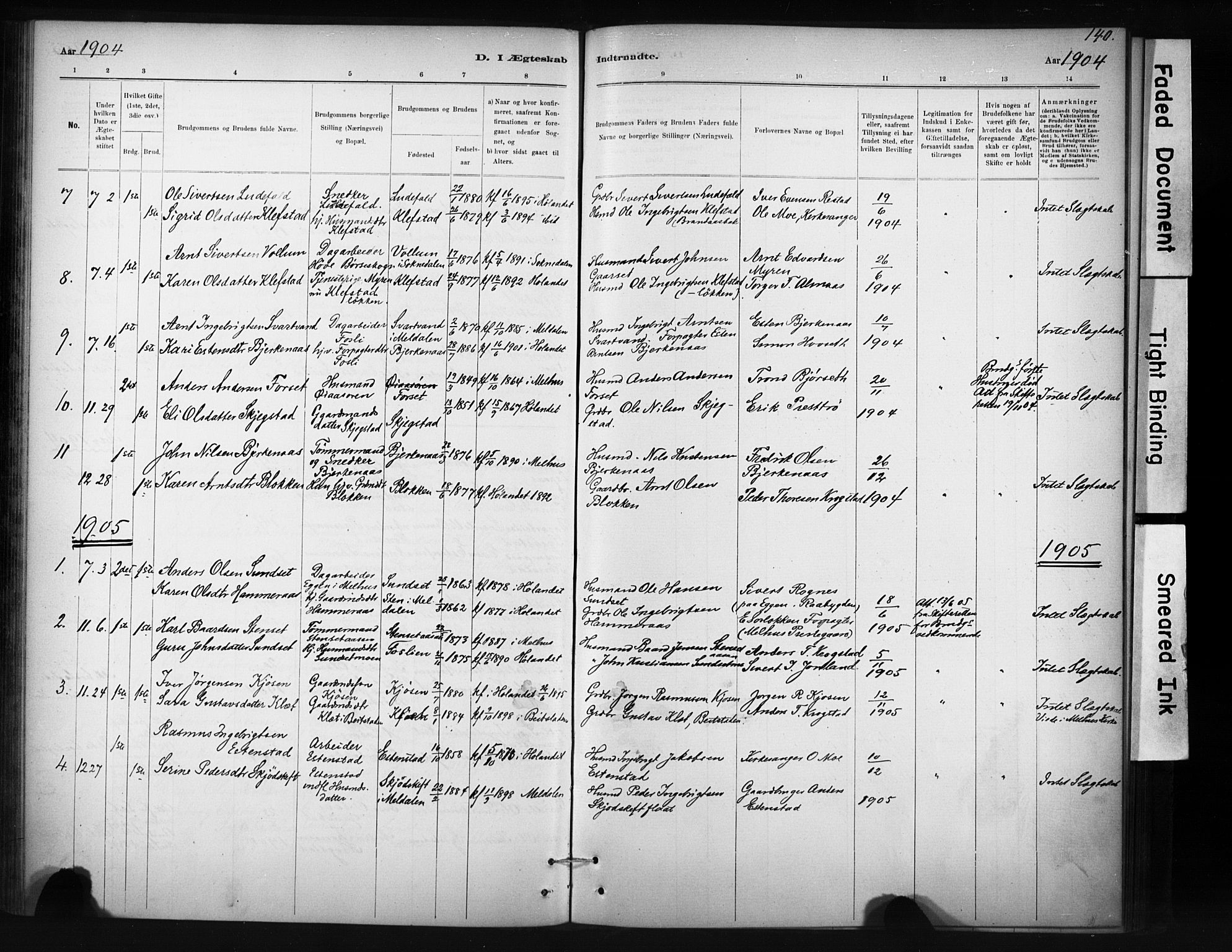 SAT, Ministerialprotokoller, klokkerbøker og fødselsregistre - Sør-Trøndelag, 694/L1127: Ministerialbok nr. 694A01, 1887-1905, s. 140