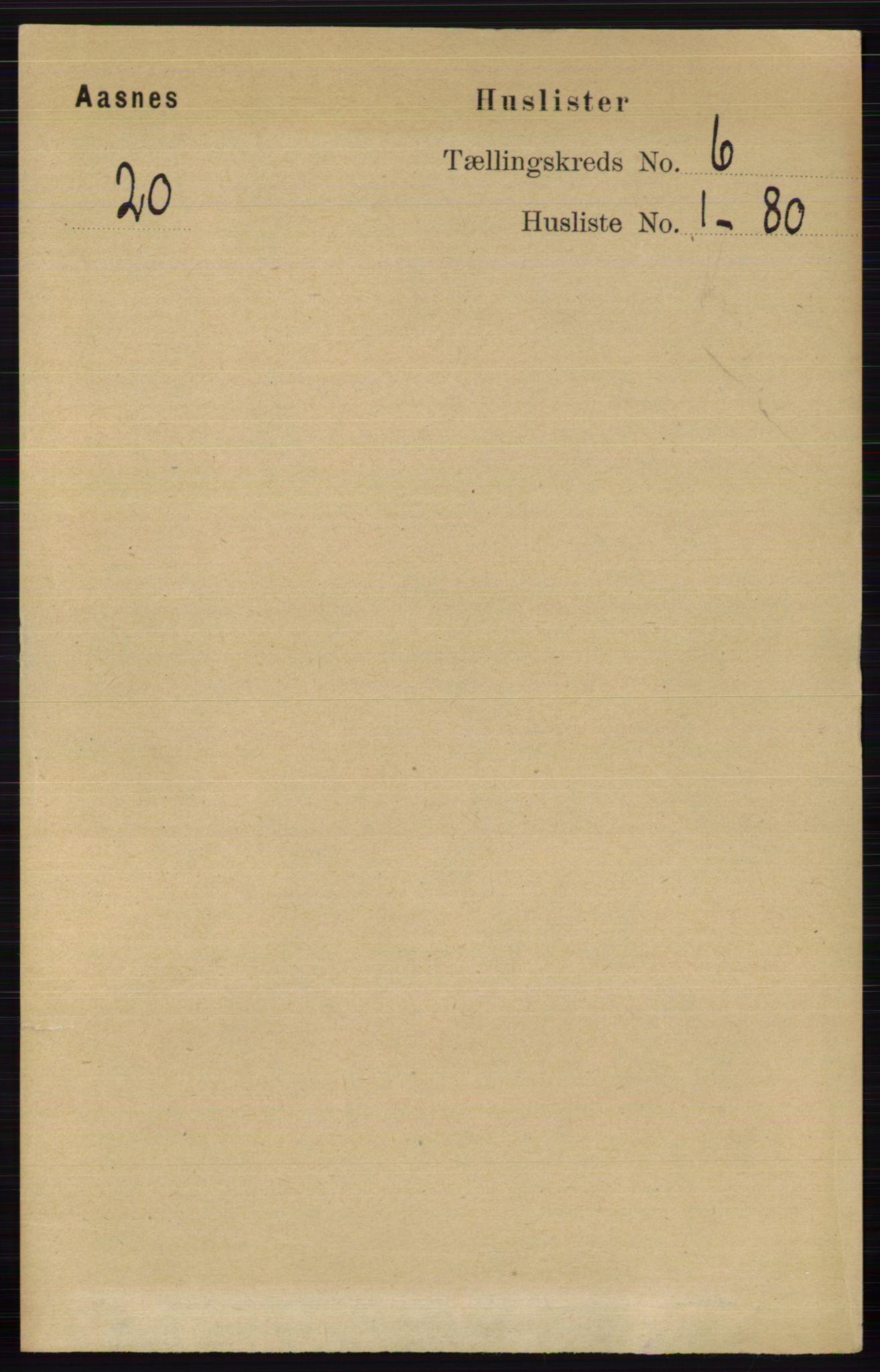 RA, Folketelling 1891 for 0425 Åsnes herred, 1891, s. 2710