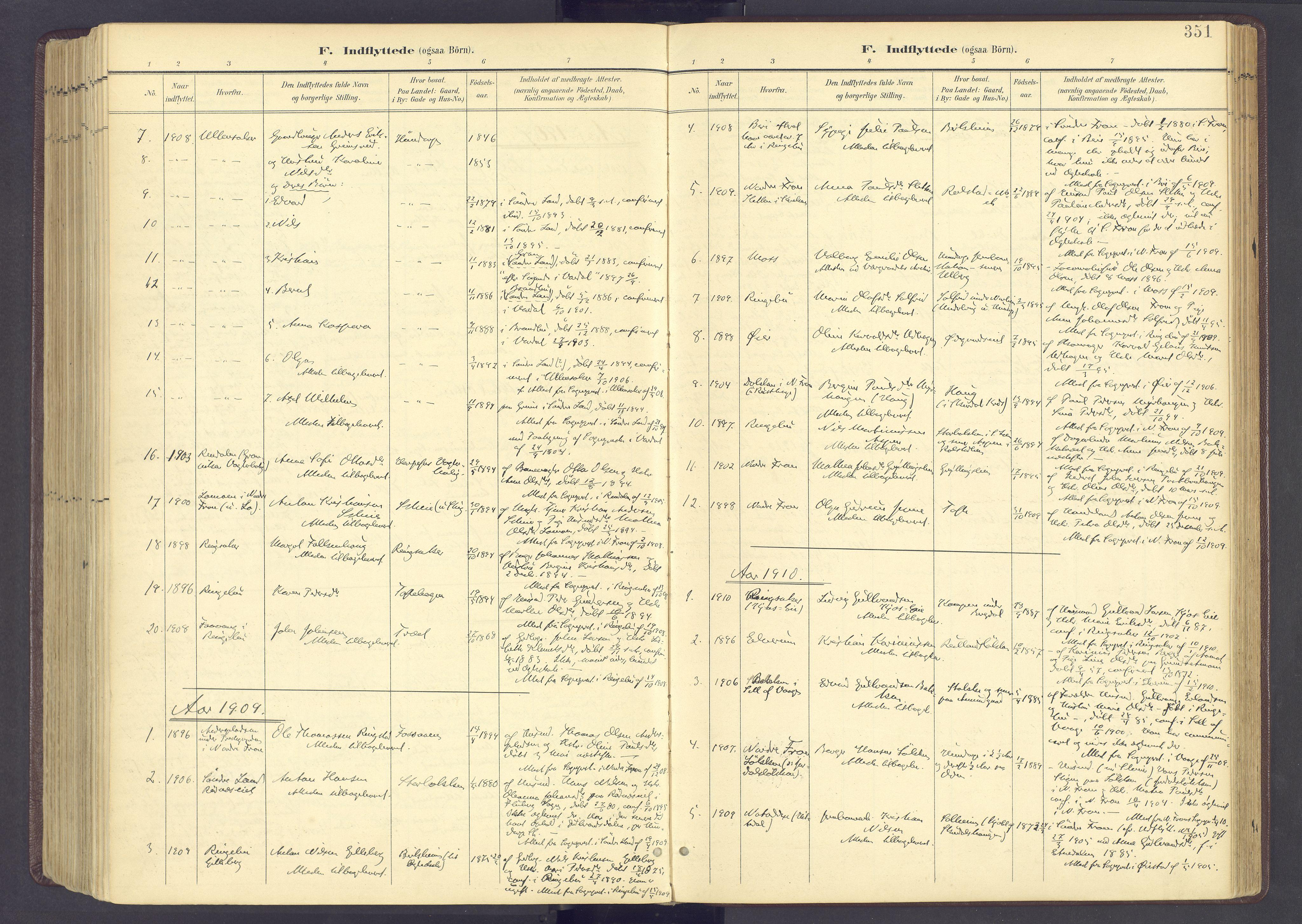 SAH, Sør-Fron prestekontor, H/Ha/Haa/L0004: Ministerialbok nr. 4, 1898-1919, s. 351