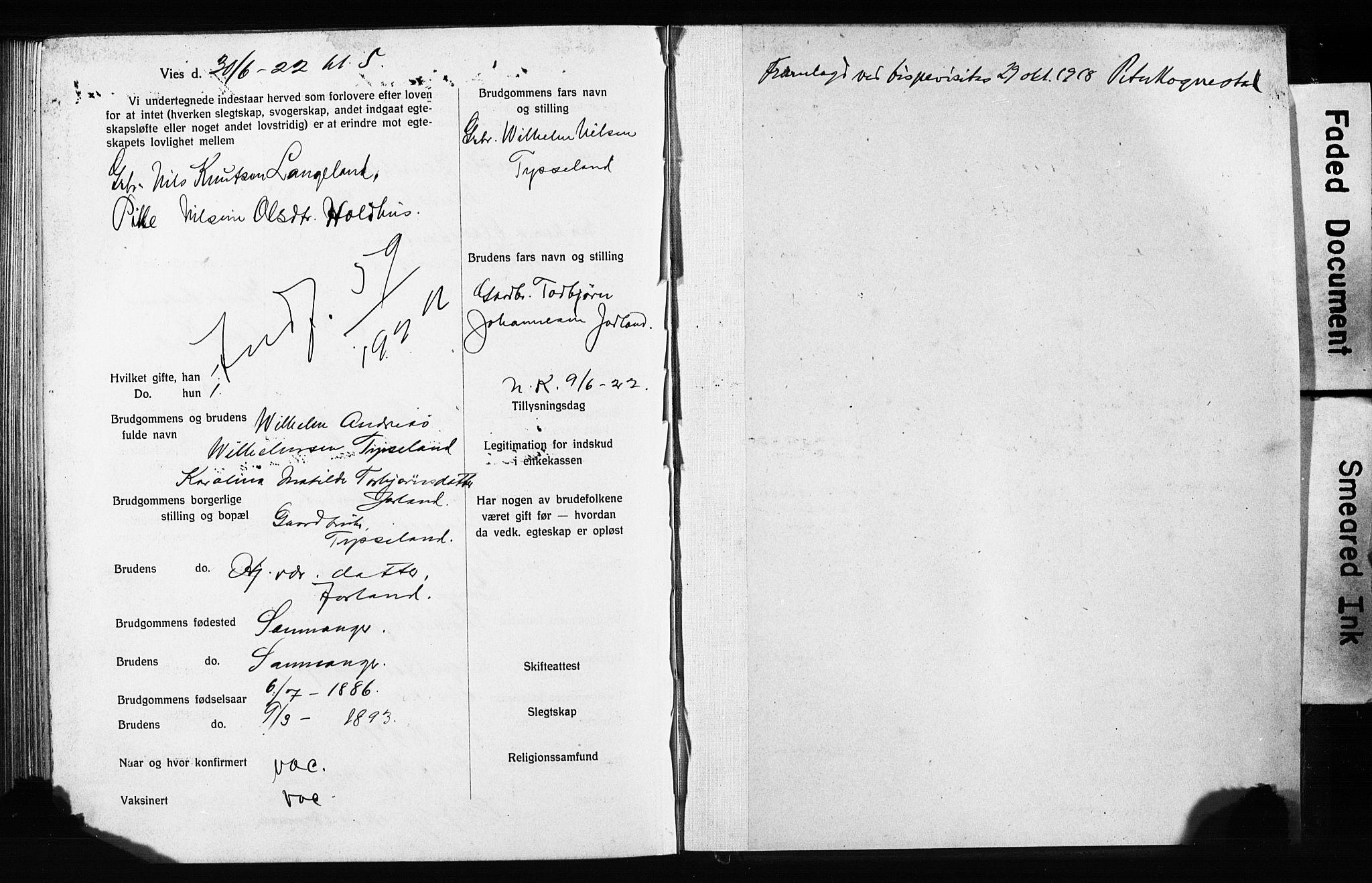 SAB, Domkirken Sokneprestembete, Forlovererklæringer nr. II.5.13, 1917-1922, s. 386