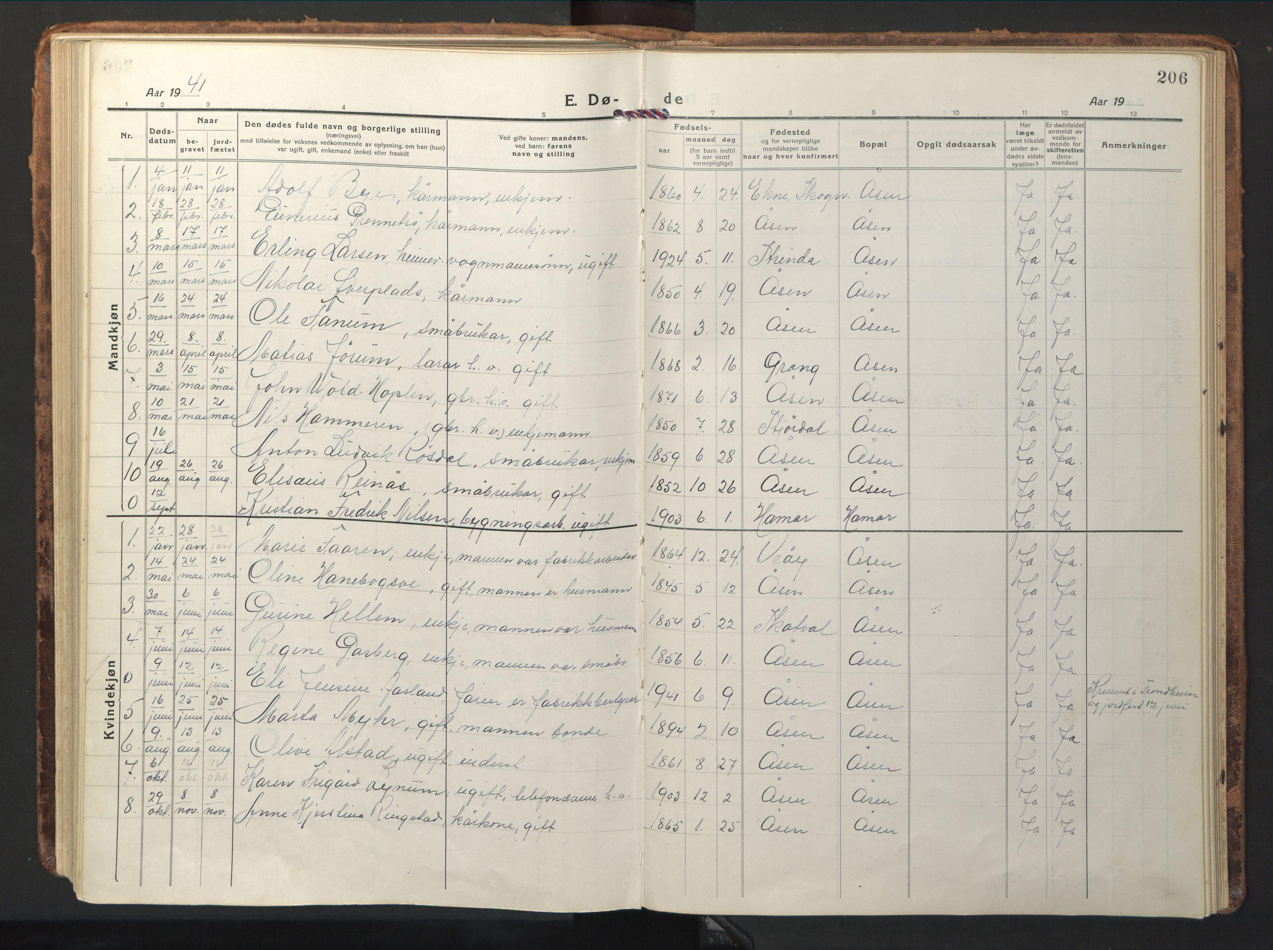 SAT, Ministerialprotokoller, klokkerbøker og fødselsregistre - Nord-Trøndelag, 714/L0136: Klokkerbok nr. 714C05, 1918-1957, s. 206
