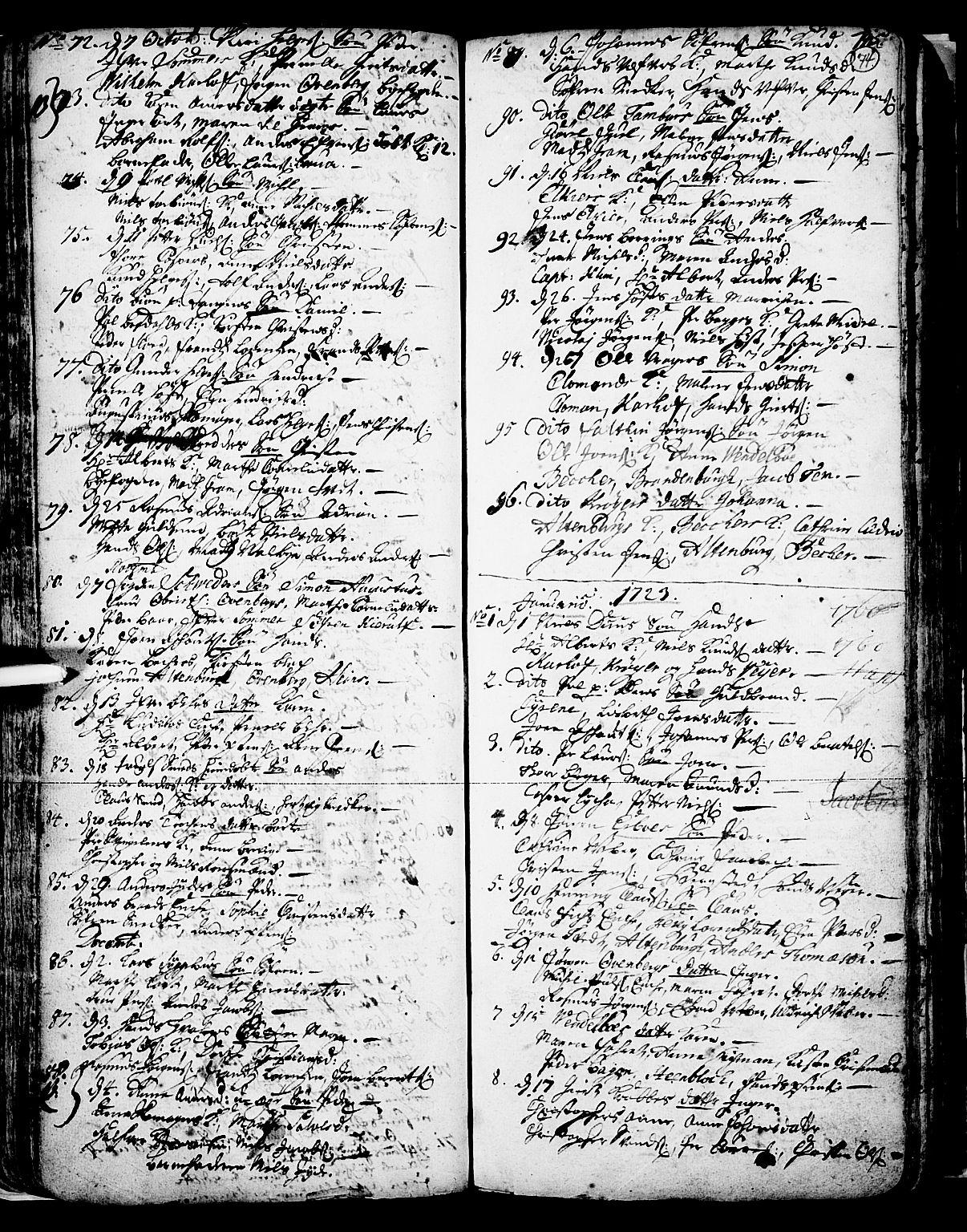 SAKO, Skien kirkebøker, F/Fa/L0002: Ministerialbok nr. 2, 1716-1757, s. 74