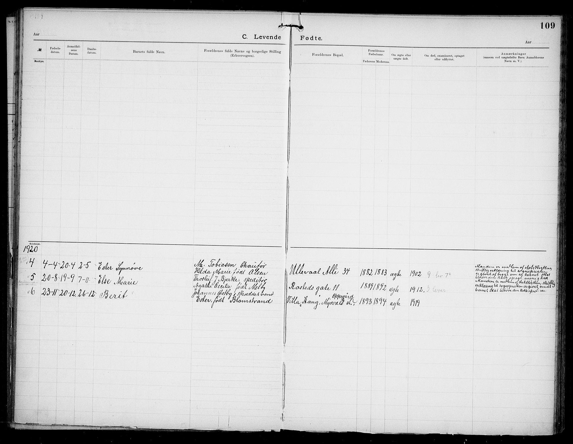 SAO, Den katolsk apostoliske menighet i Oslo , F/Fa/L0002: Dissenterprotokoll nr. 2, 1892-1937, s. 109