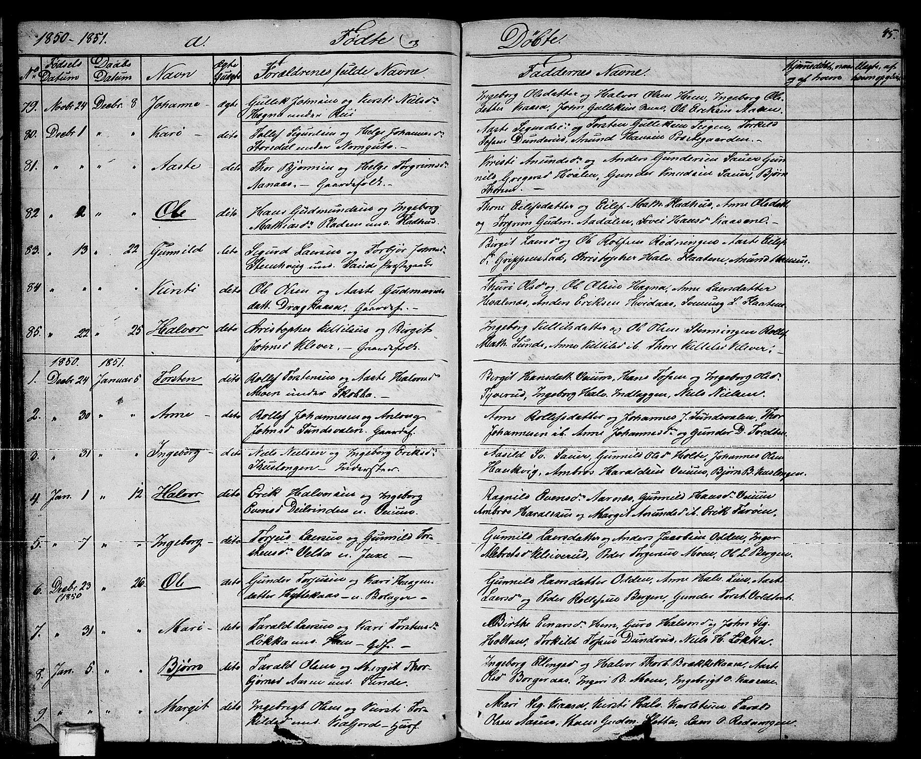SAKO, Sauherad kirkebøker, G/Ga/L0002: Klokkerbok nr. I 2, 1842-1866, s. 45