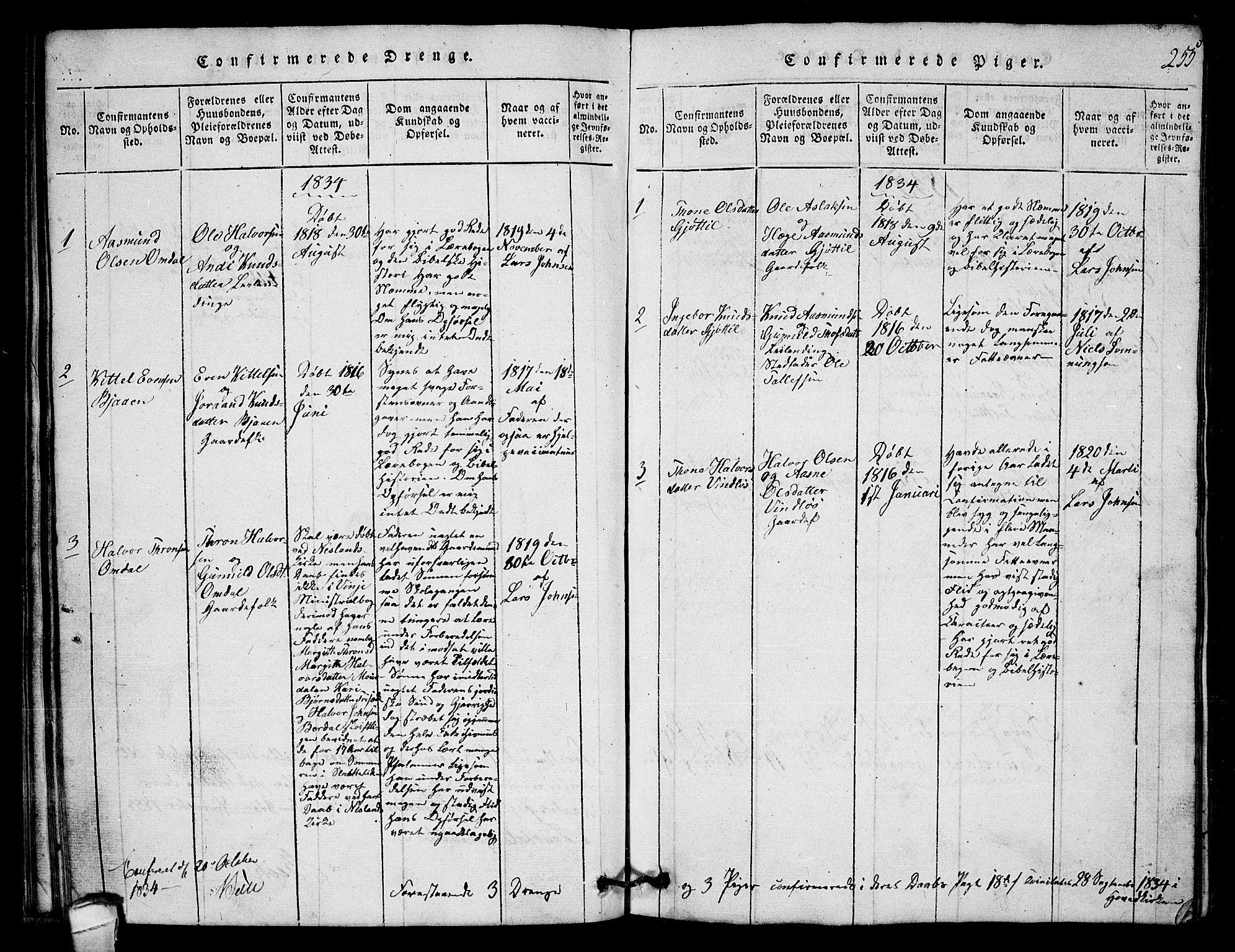 SAKO, Lårdal kirkebøker, G/Gb/L0001: Klokkerbok nr. II 1, 1815-1865, s. 255
