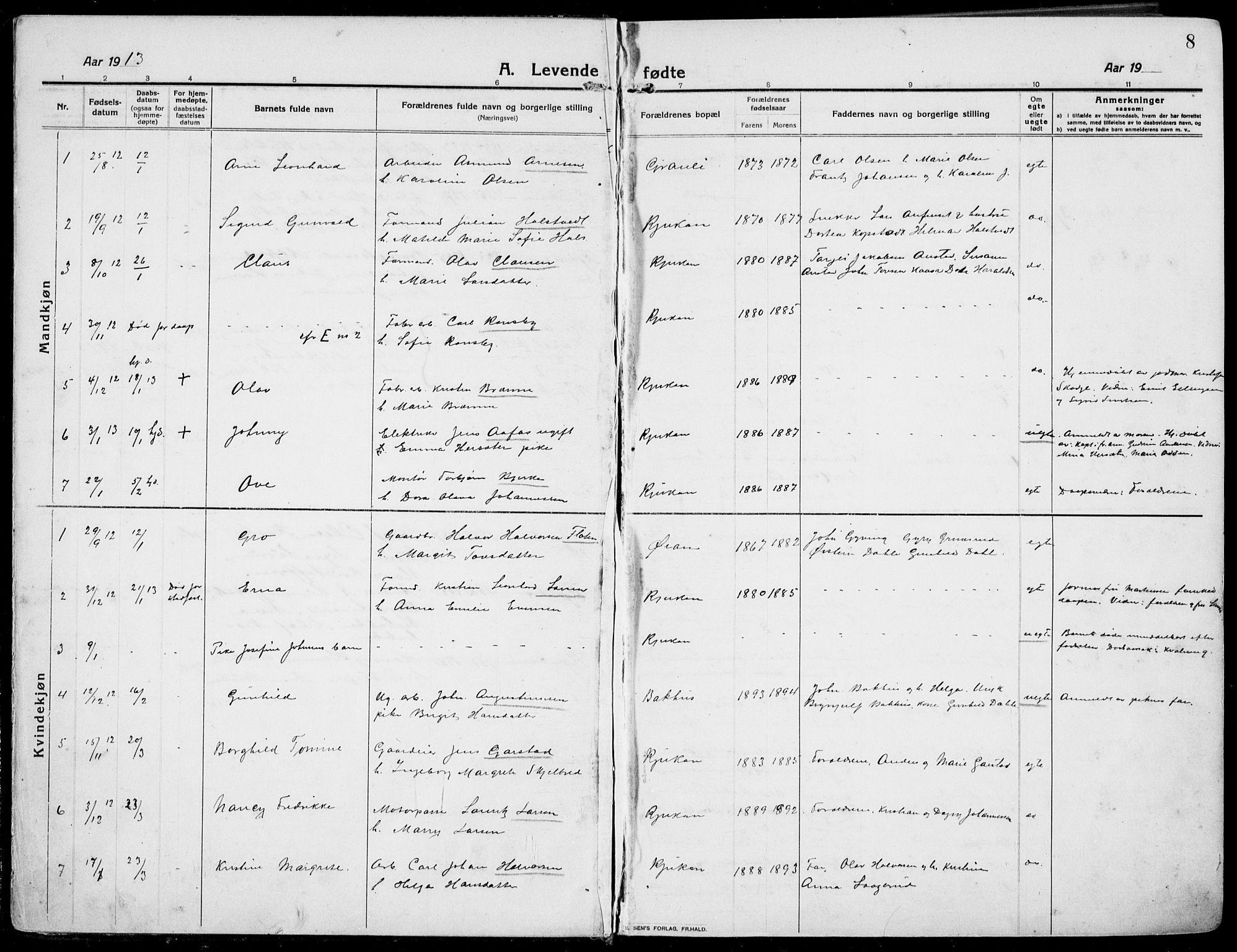 SAKO, Rjukan kirkebøker, F/Fa/L0002: Ministerialbok nr. 2, 1912-1917, s. 8