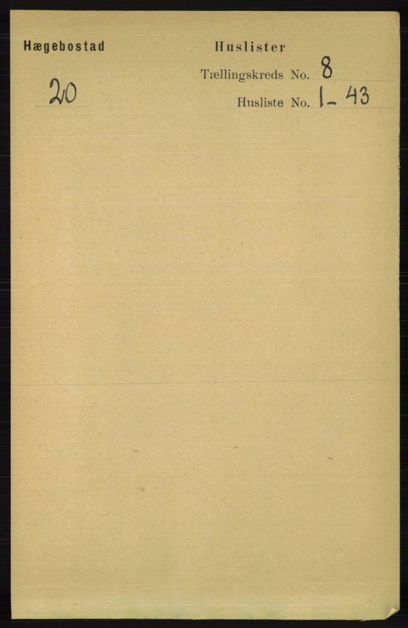 RA, Folketelling 1891 for 1034 Hægebostad herred, 1891, s. 2419