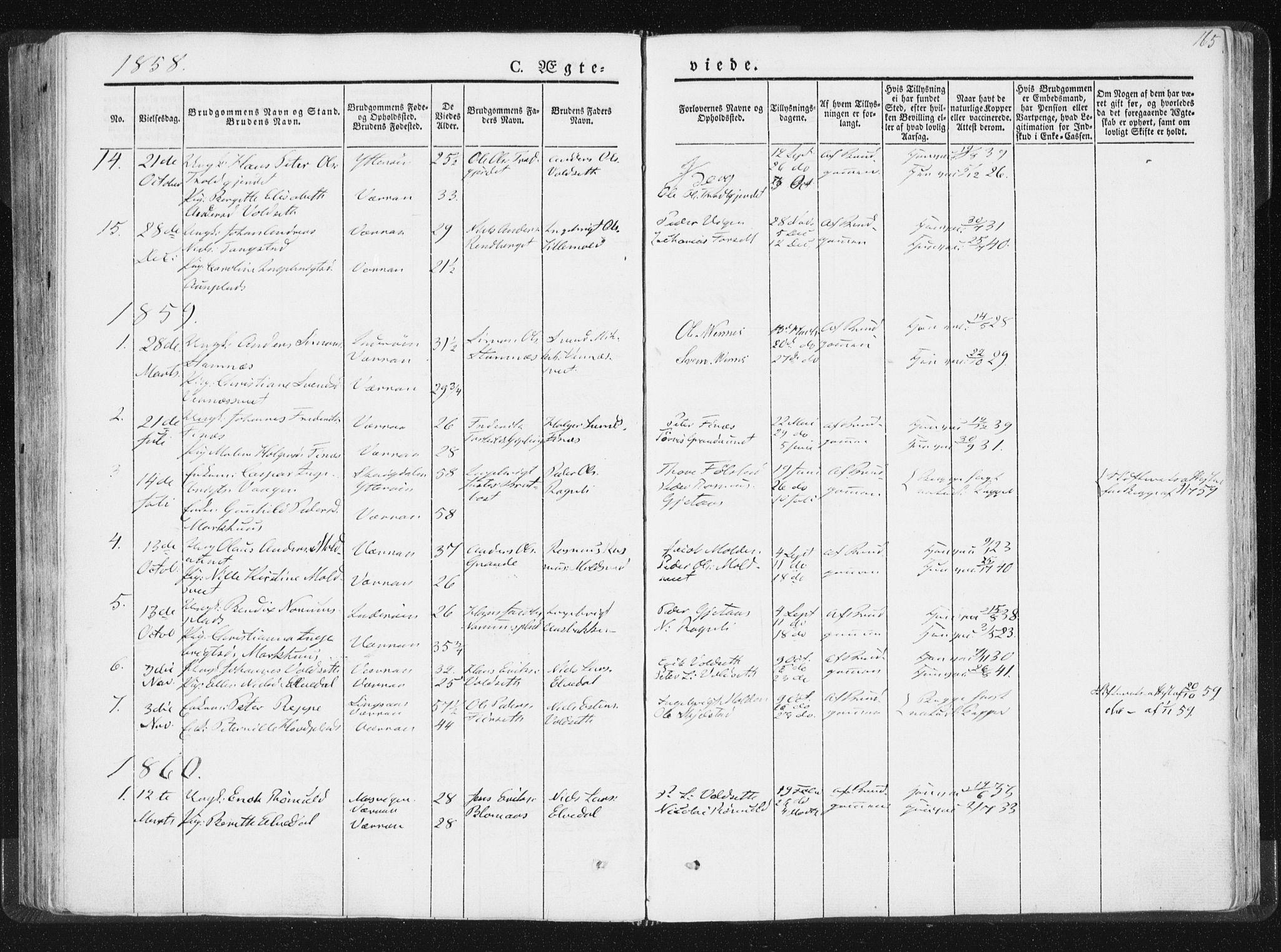 SAT, Ministerialprotokoller, klokkerbøker og fødselsregistre - Nord-Trøndelag, 744/L0418: Ministerialbok nr. 744A02, 1843-1866, s. 165