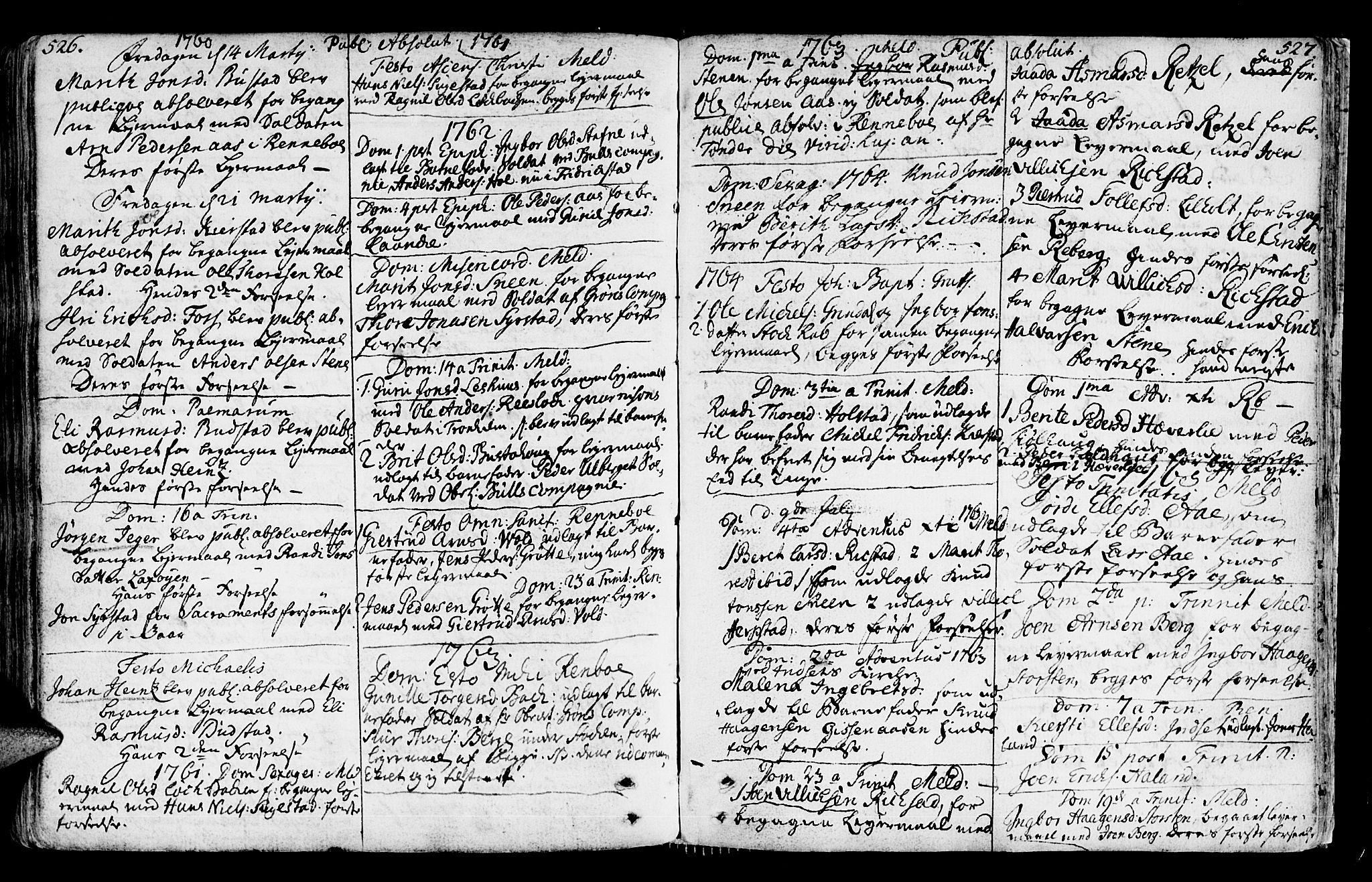 SAT, Ministerialprotokoller, klokkerbøker og fødselsregistre - Sør-Trøndelag, 672/L0851: Ministerialbok nr. 672A04, 1751-1775, s. 526-527