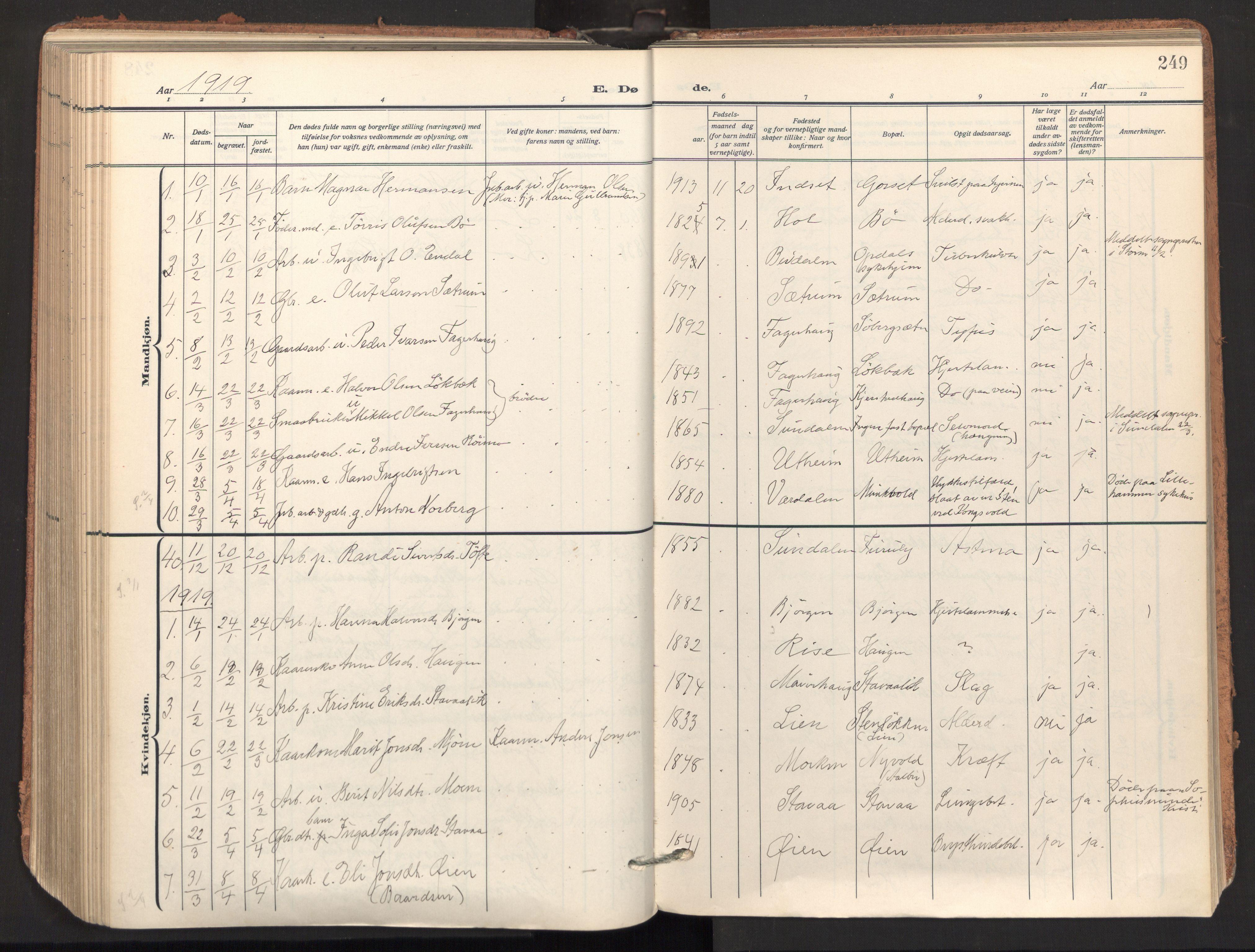 SAT, Ministerialprotokoller, klokkerbøker og fødselsregistre - Sør-Trøndelag, 678/L0909: Ministerialbok nr. 678A17, 1912-1930, s. 249
