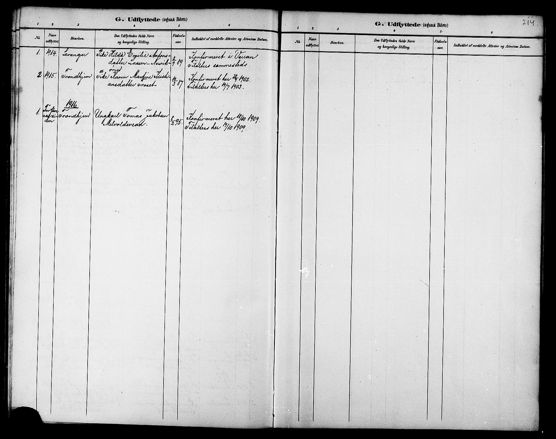SAT, Ministerialprotokoller, klokkerbøker og fødselsregistre - Nord-Trøndelag, 733/L0327: Klokkerbok nr. 733C02, 1888-1918, s. 214