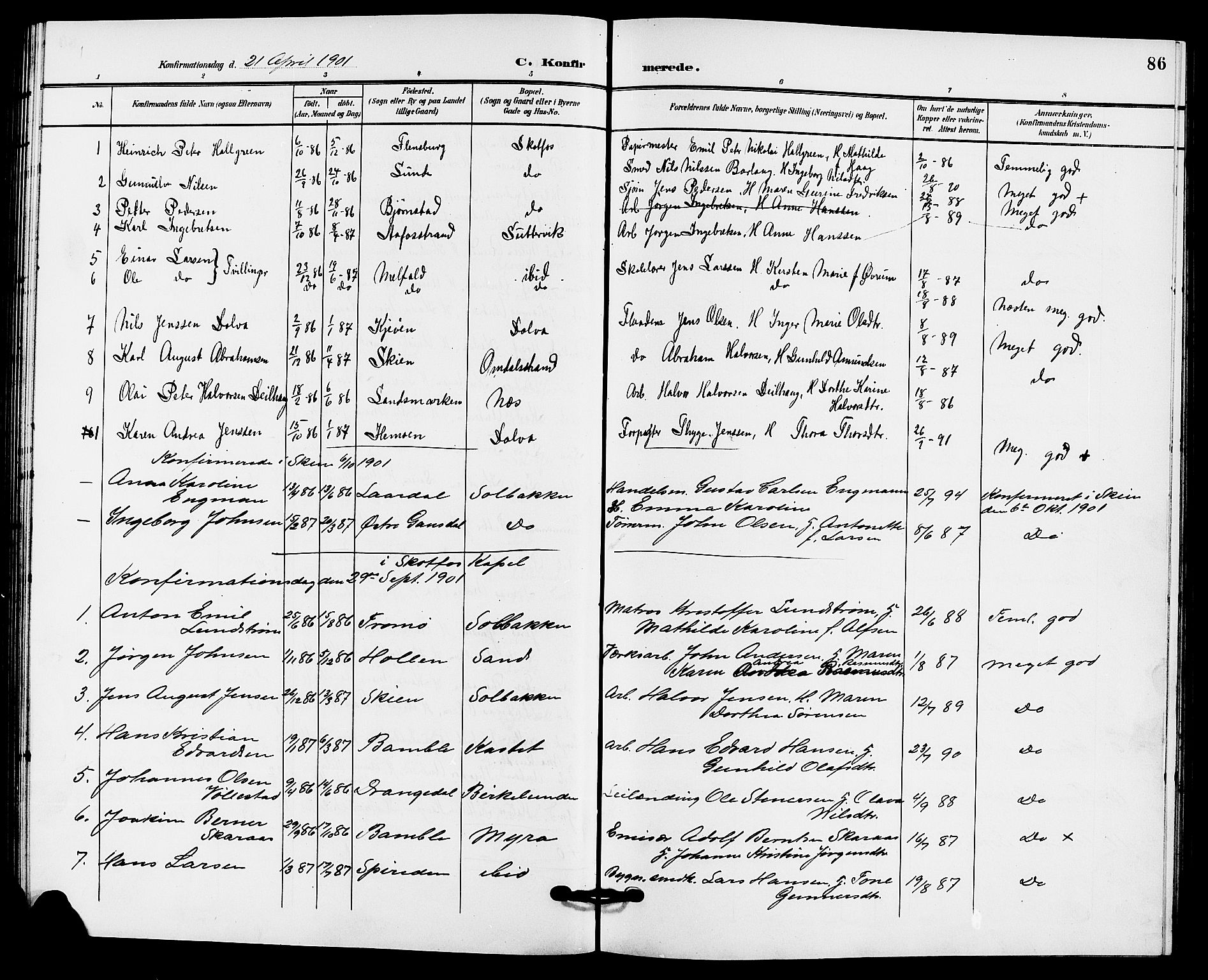 SAKO, Solum kirkebøker, G/Gb/L0004: Klokkerbok nr. II 4, 1898-1905, s. 86