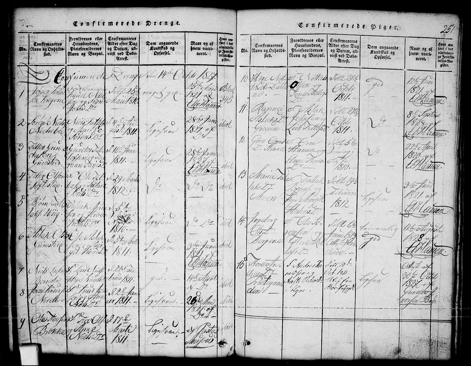 SAKO, Nissedal kirkebøker, G/Ga/L0001: Klokkerbok nr. I 1, 1814-1860, s. 251