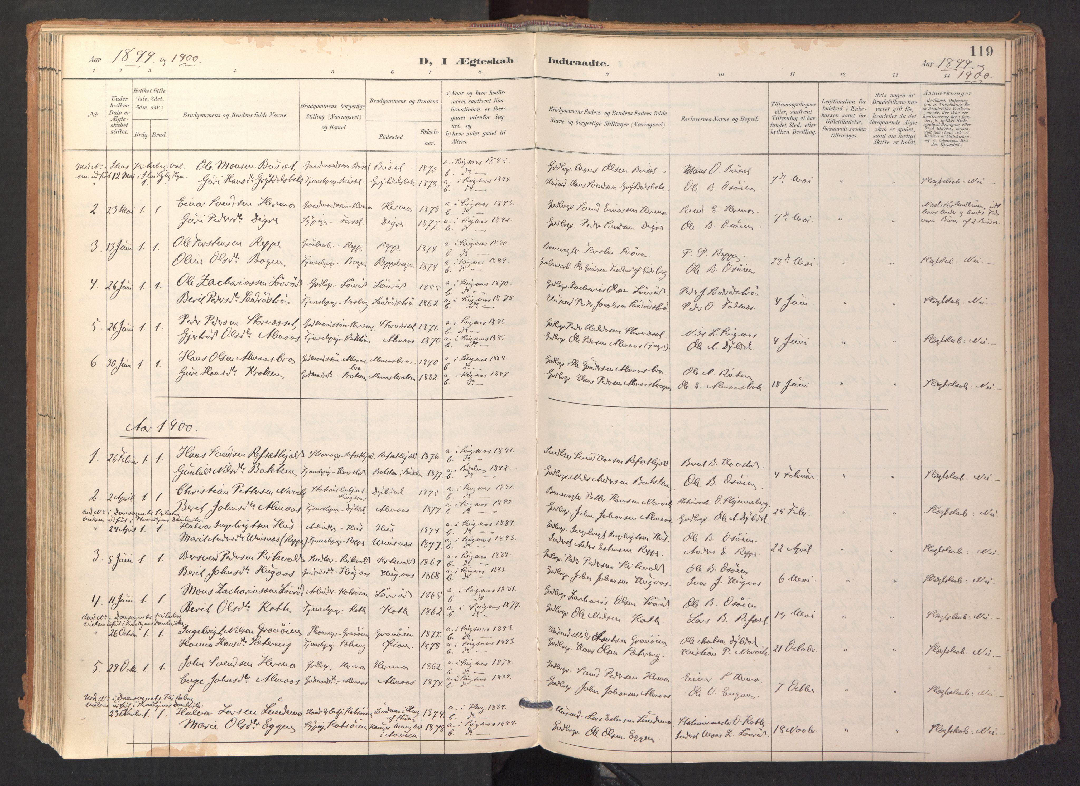 SAT, Ministerialprotokoller, klokkerbøker og fødselsregistre - Sør-Trøndelag, 688/L1025: Ministerialbok nr. 688A02, 1891-1909, s. 119