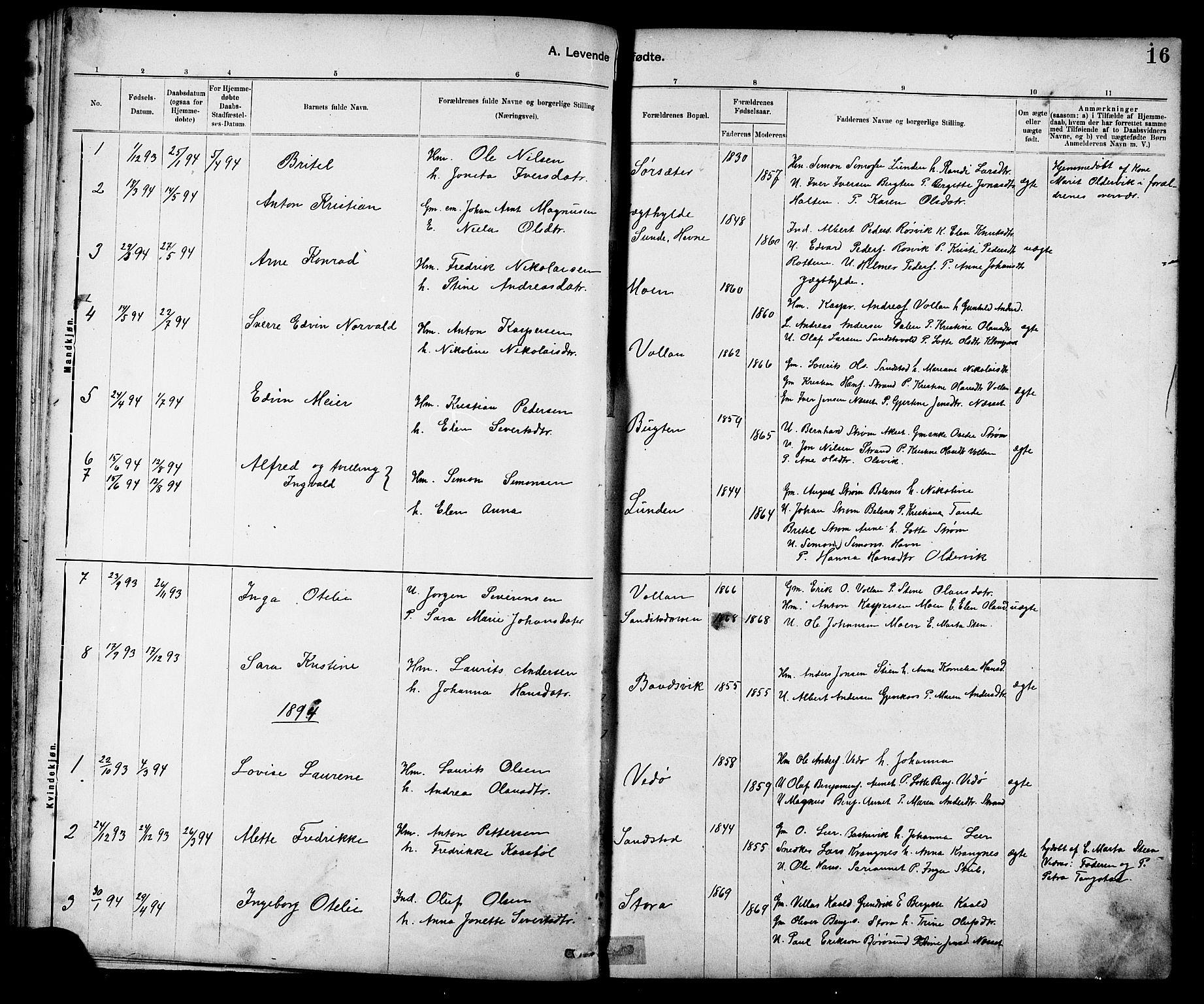 SAT, Ministerialprotokoller, klokkerbøker og fødselsregistre - Sør-Trøndelag, 639/L0573: Klokkerbok nr. 639C01, 1890-1905, s. 16