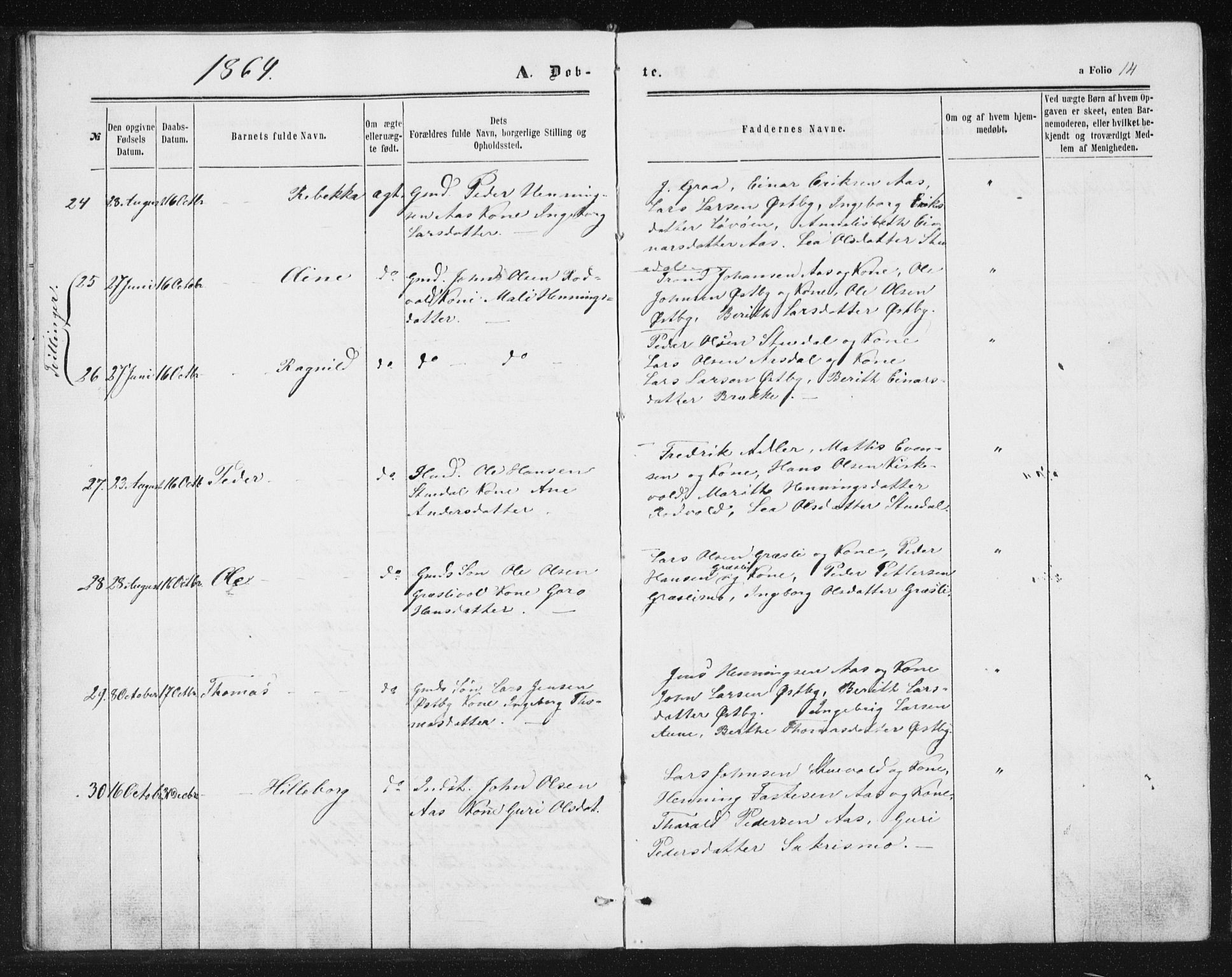 SAT, Ministerialprotokoller, klokkerbøker og fødselsregistre - Sør-Trøndelag, 698/L1166: Klokkerbok nr. 698C03, 1861-1887, s. 14