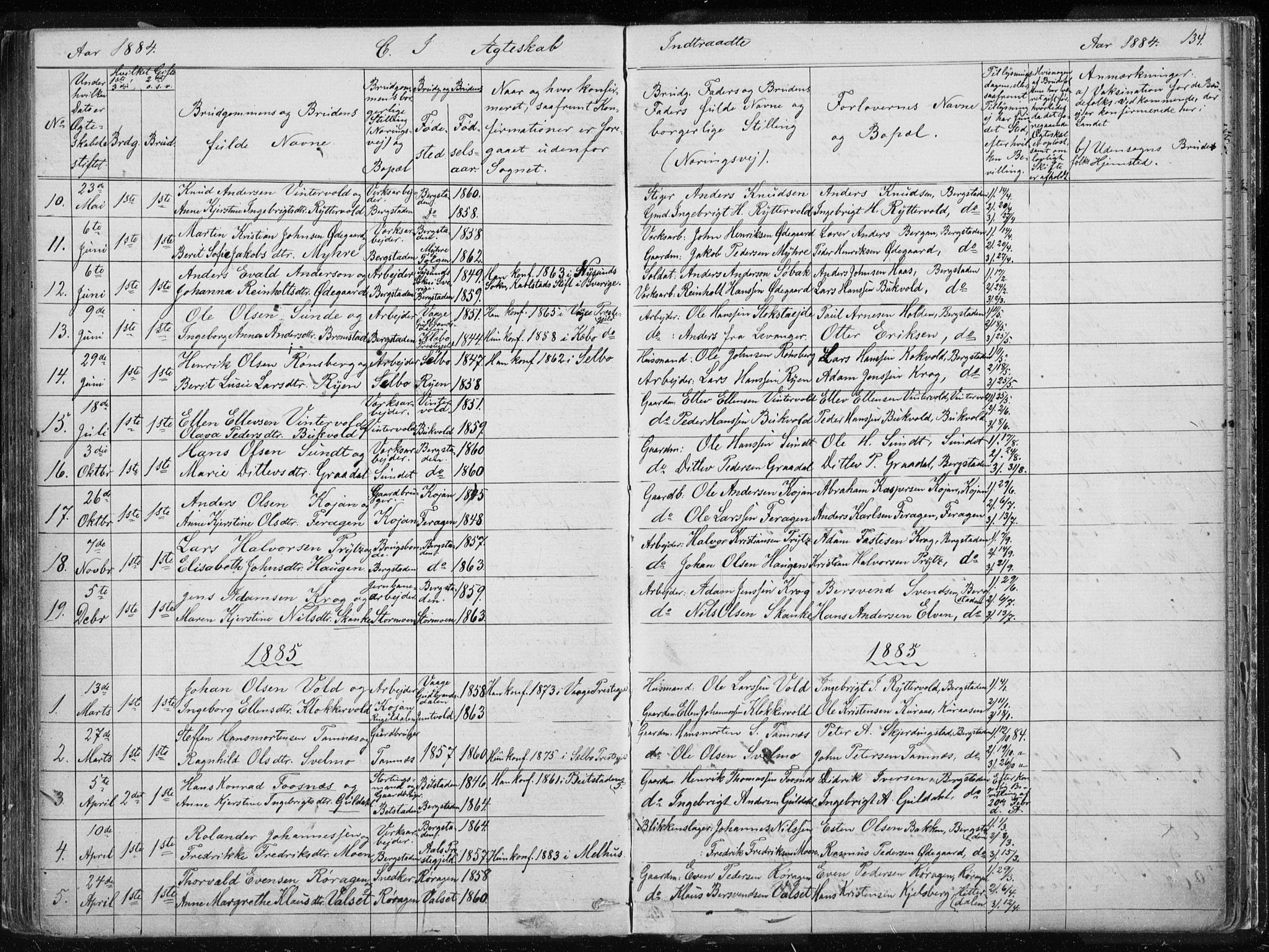 SAT, Ministerialprotokoller, klokkerbøker og fødselsregistre - Sør-Trøndelag, 681/L0940: Klokkerbok nr. 681C04, 1880-1895, s. 134