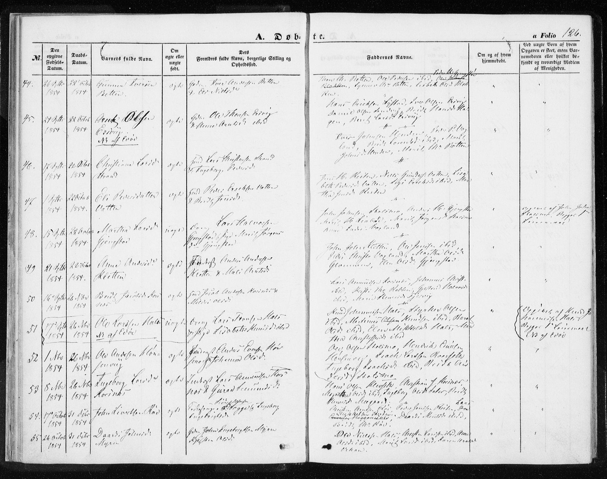 SAT, Ministerialprotokoller, klokkerbøker og fødselsregistre - Møre og Romsdal, 576/L0883: Ministerialbok nr. 576A01, 1849-1865, s. 126