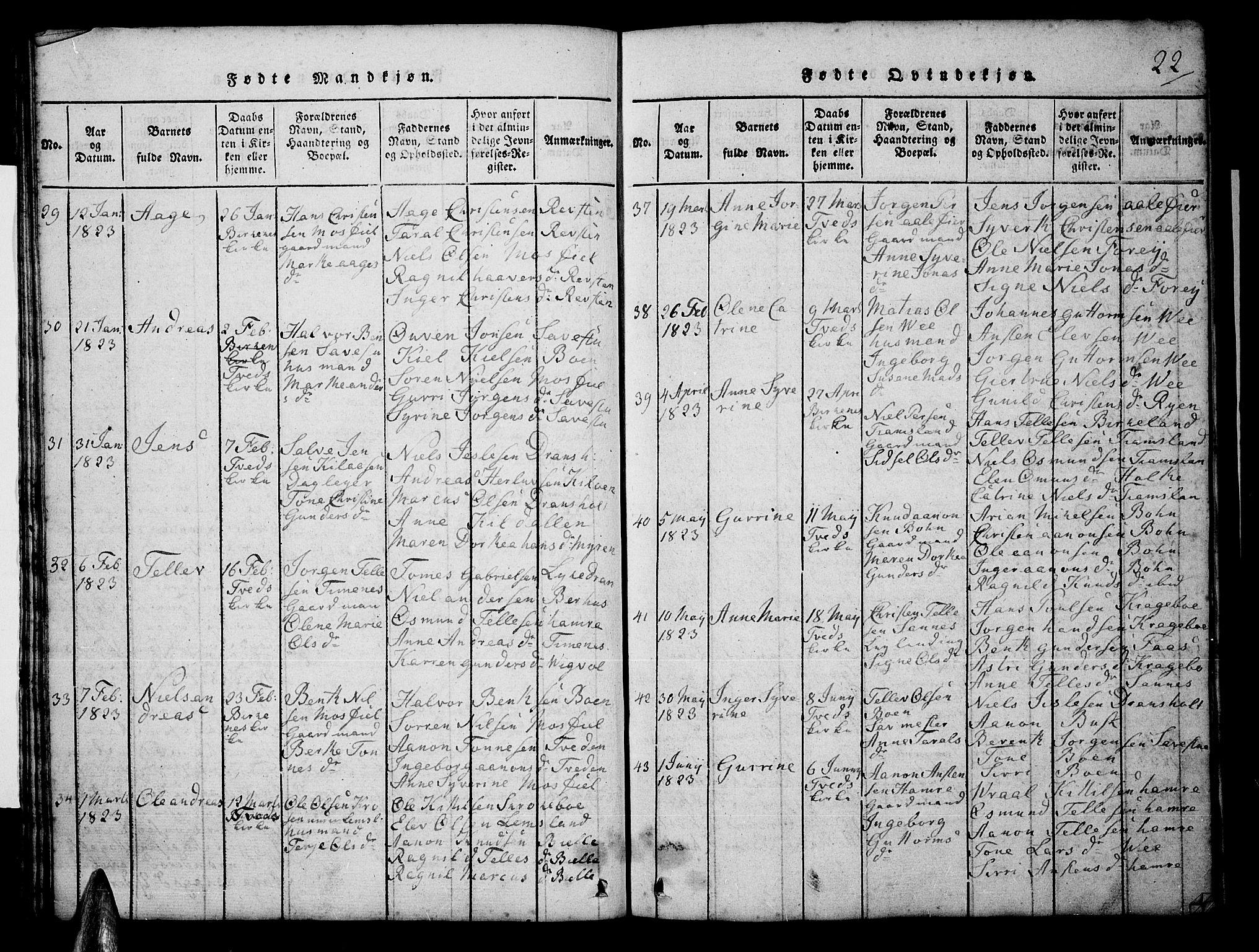 SAK, Tveit sokneprestkontor, F/Fb/L0001: Klokkerbok nr. B 1, 1820-1834, s. 22