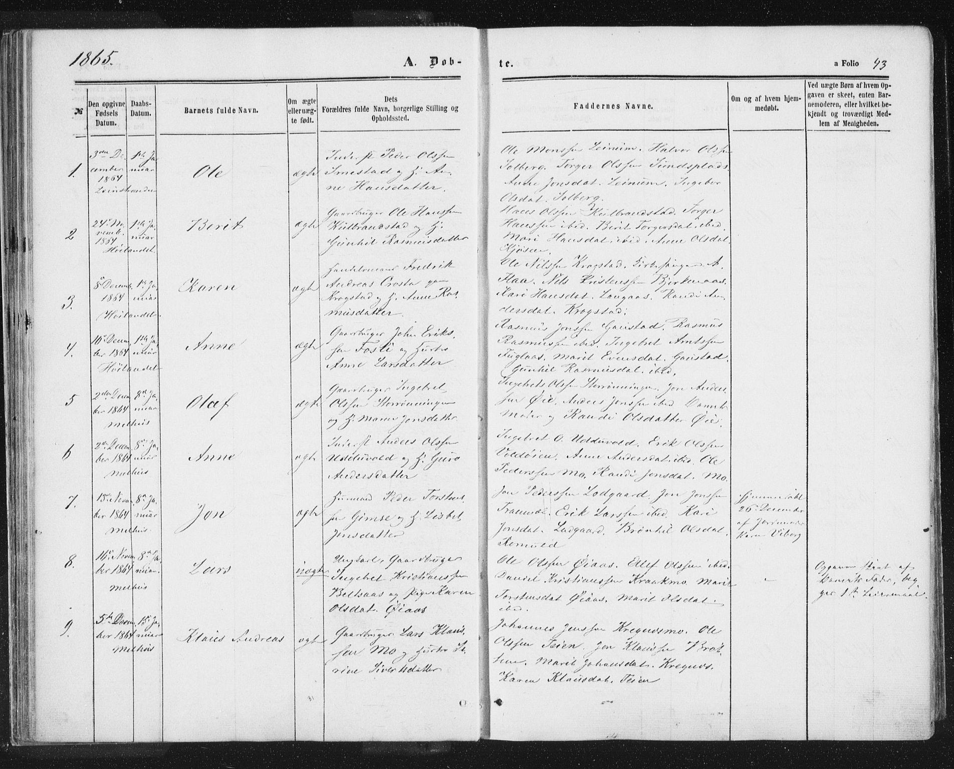 SAT, Ministerialprotokoller, klokkerbøker og fødselsregistre - Sør-Trøndelag, 691/L1077: Ministerialbok nr. 691A09, 1862-1873, s. 43