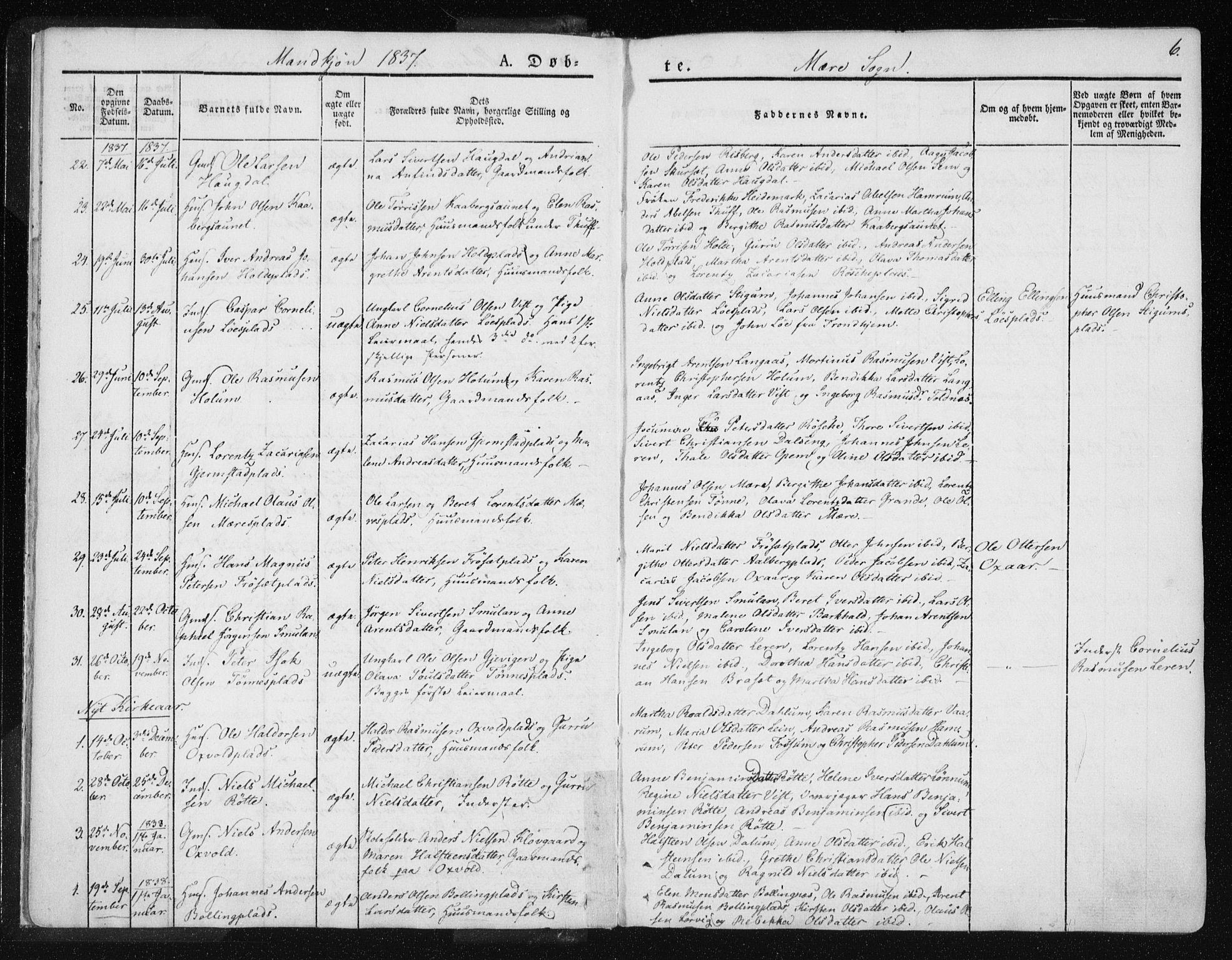 SAT, Ministerialprotokoller, klokkerbøker og fødselsregistre - Nord-Trøndelag, 735/L0339: Ministerialbok nr. 735A06 /1, 1836-1848, s. 6
