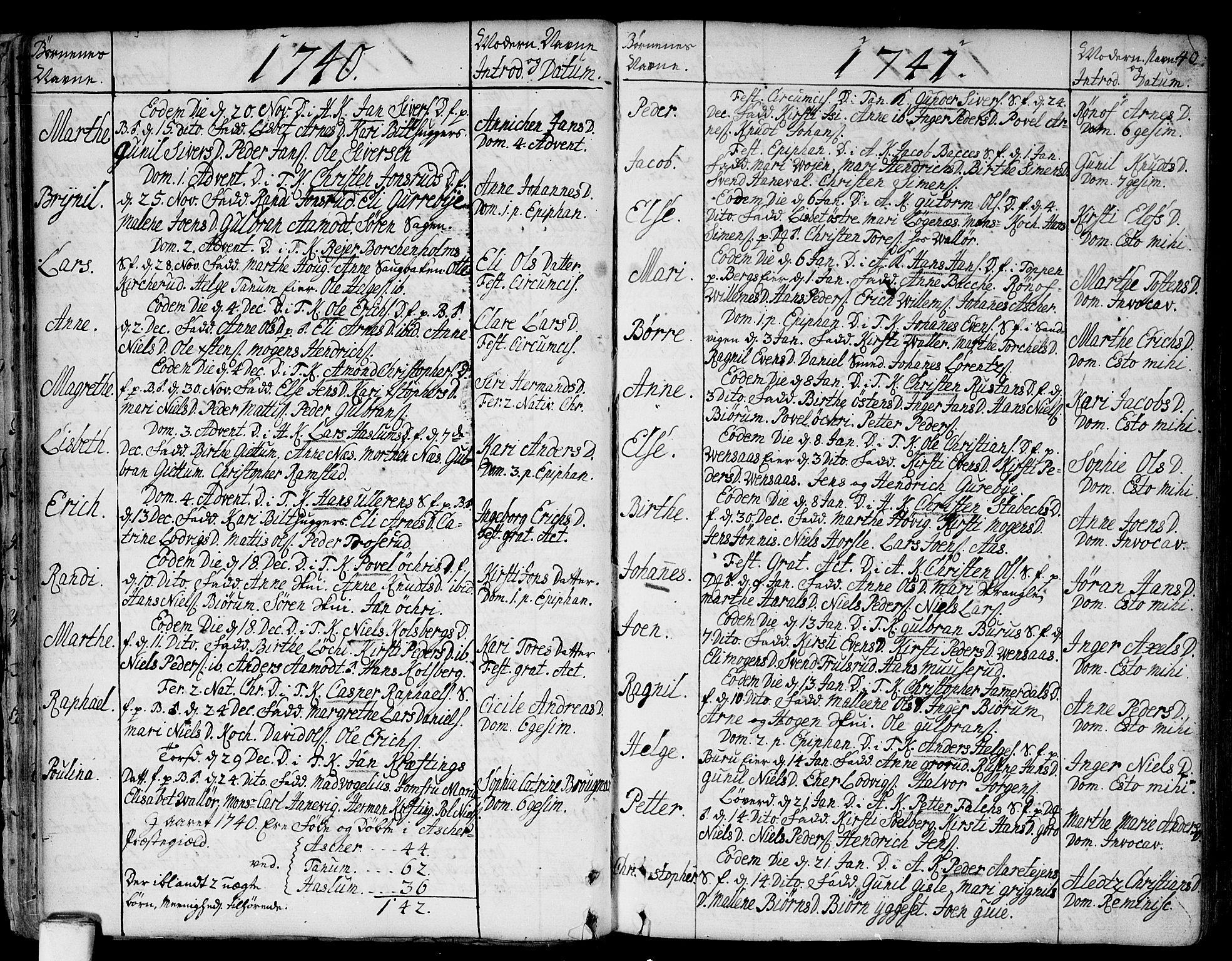 SAO, Asker prestekontor Kirkebøker, F/Fa/L0002: Ministerialbok nr. I 2, 1733-1766, s. 40