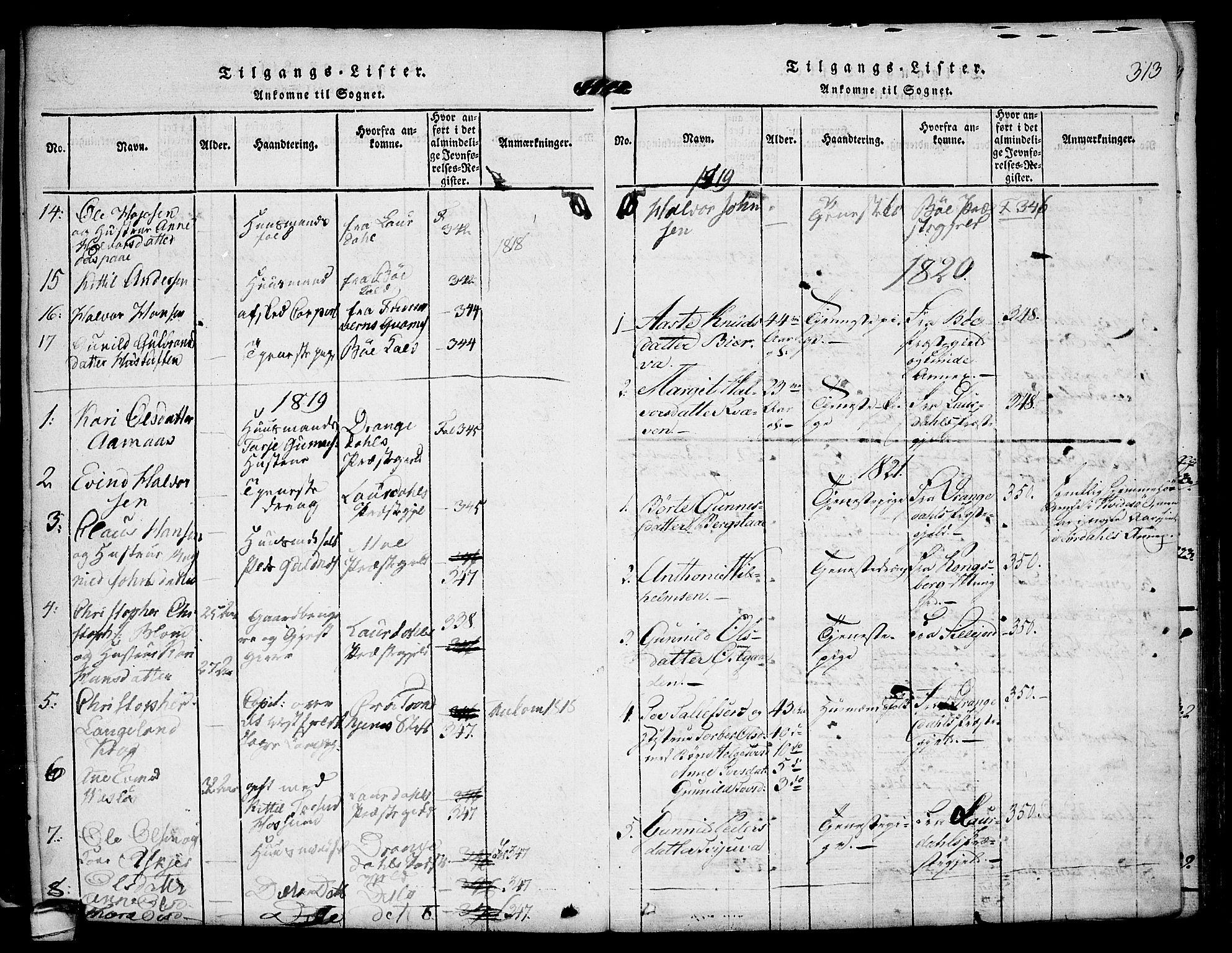 SAKO, Kviteseid kirkebøker, F/Fa/L0005: Ministerialbok nr. I 5, 1815-1836, s. 313