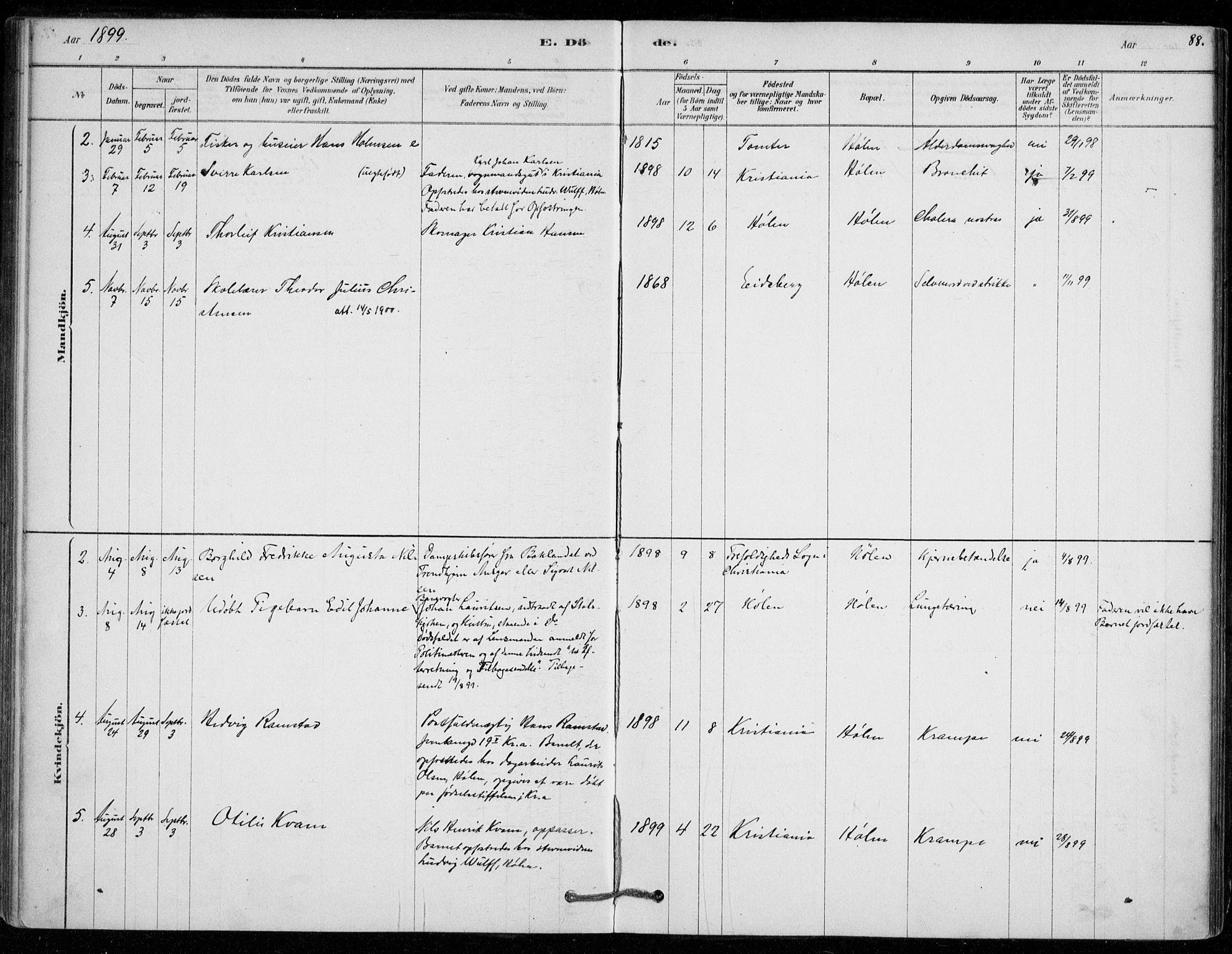 SAO, Vestby prestekontor Kirkebøker, F/Fe/L0001: Ministerialbok nr. V 1, 1878-1931, s. 88