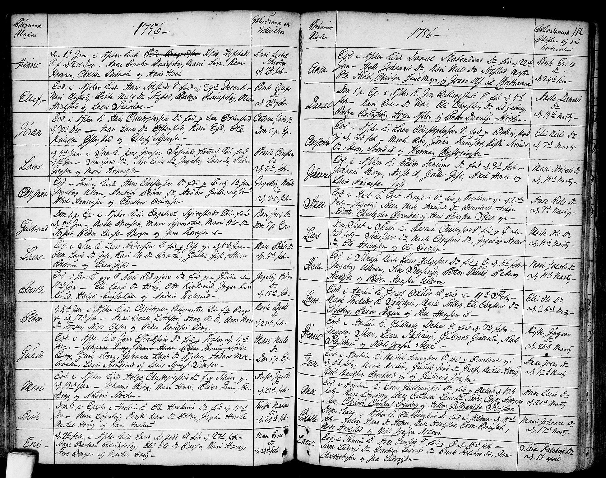 SAO, Asker prestekontor Kirkebøker, F/Fa/L0002: Ministerialbok nr. I 2, 1733-1766, s. 112