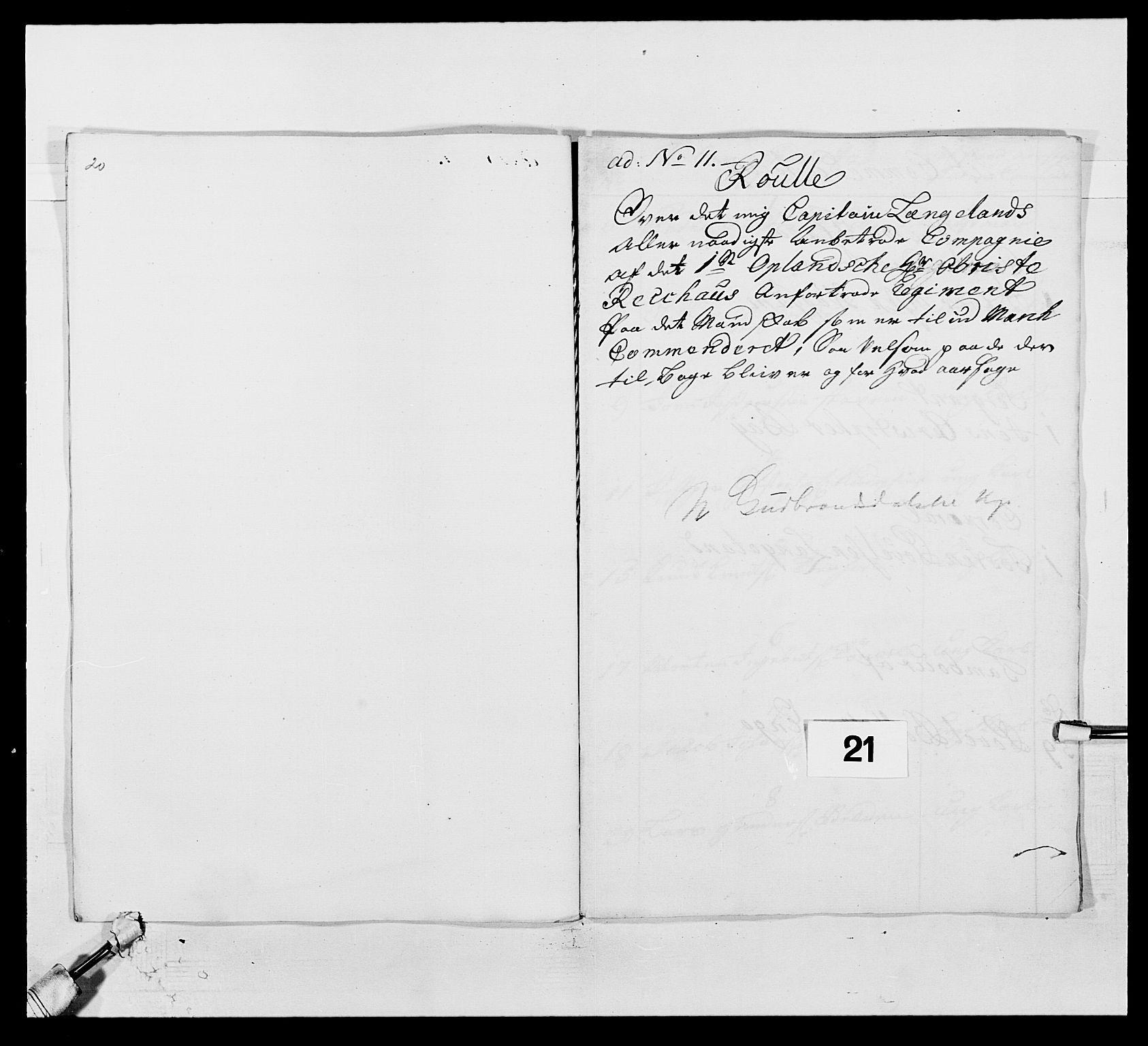 RA, Kommanderende general (KG I) med Det norske krigsdirektorium, E/Ea/L0502: 1. Opplandske regiment, 1720-1743, s. 197