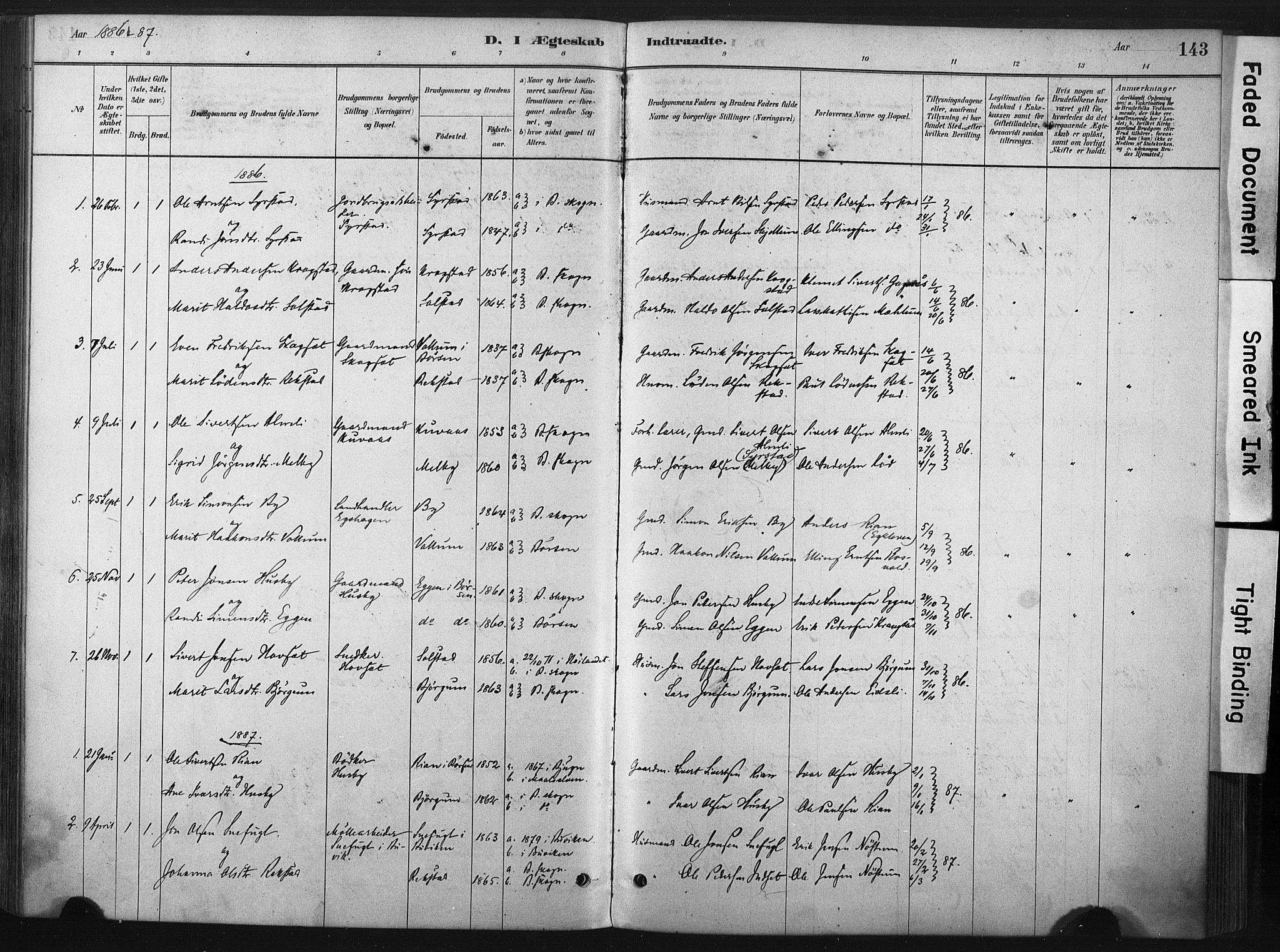 SAT, Ministerialprotokoller, klokkerbøker og fødselsregistre - Sør-Trøndelag, 667/L0795: Ministerialbok nr. 667A03, 1879-1907, s. 143