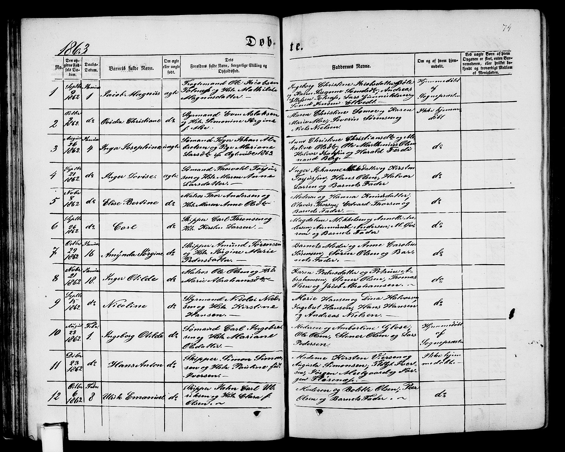 SAKO, Porsgrunn kirkebøker , G/Gb/L0004: Klokkerbok nr. II 4, 1853-1882, s. 74