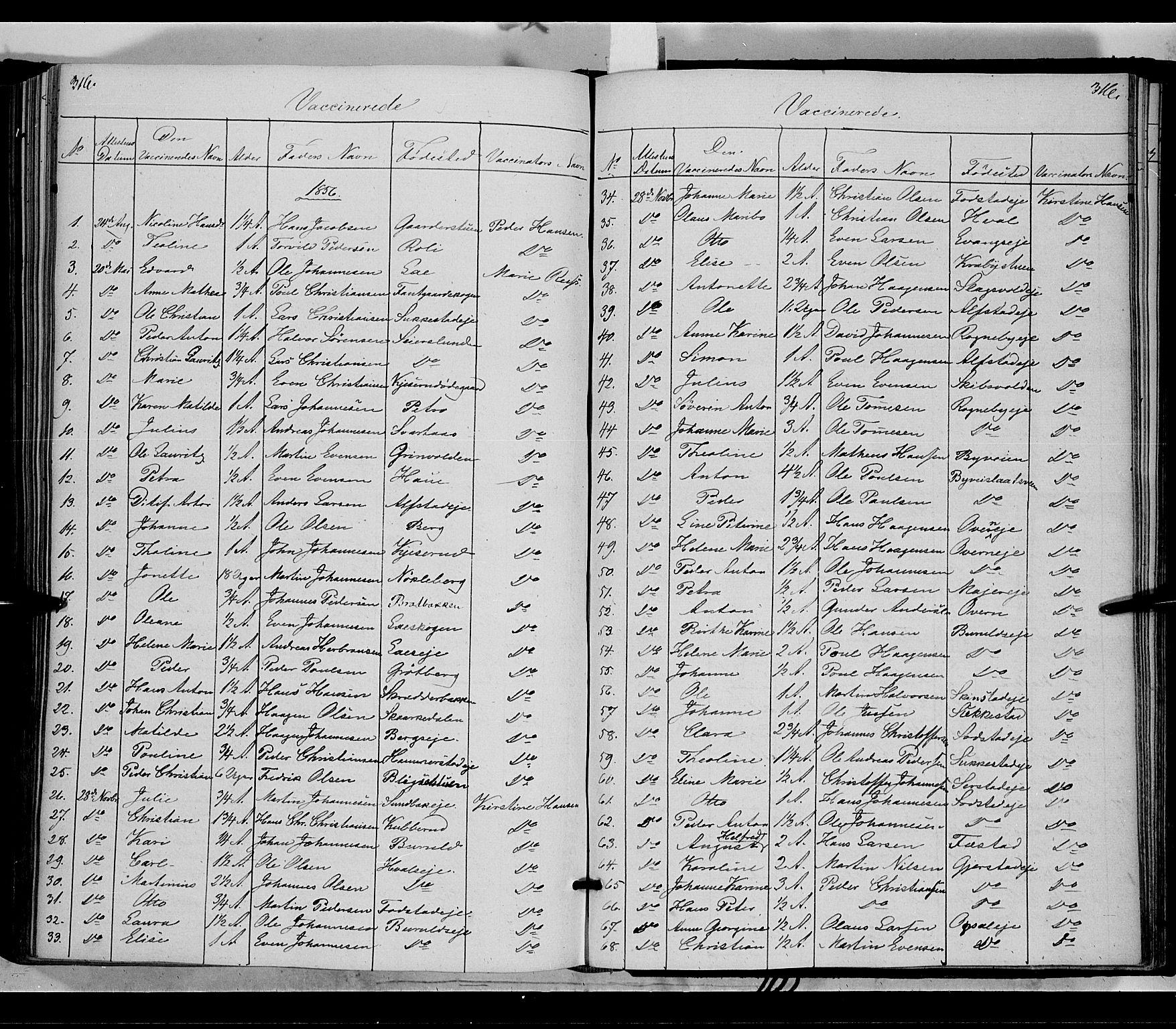 SAH, Østre Toten prestekontor, Ministerialbok nr. 3, 1848-1856, s. 316