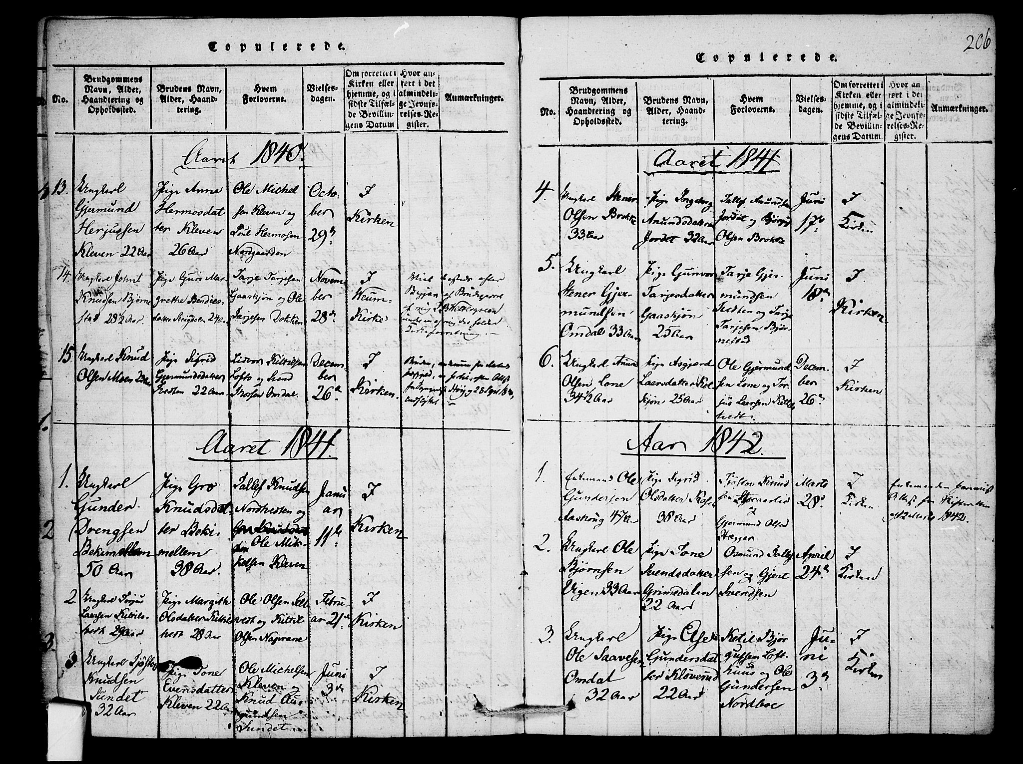 SAKO, Mo kirkebøker, F/Fb/L0001: Ministerialbok nr. II 1, 1814-1844, s. 206